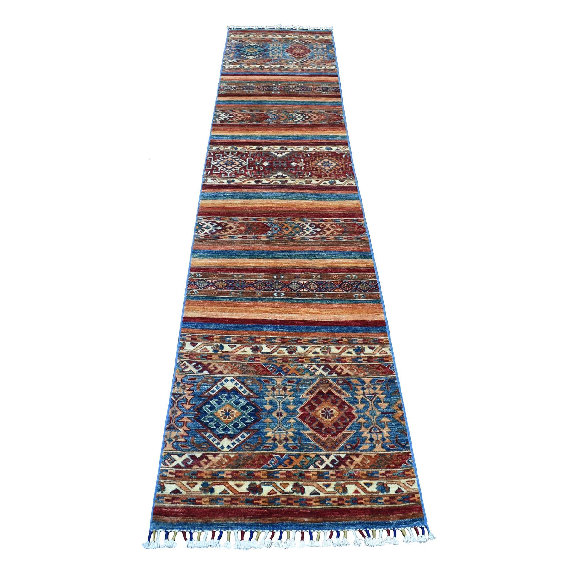 """2'3""""X10'1"""" Khorjin Design Runner Blue Super Kazak Tribal Hand Knotted Pure Wool Oriental Rug moaeb8e7"""