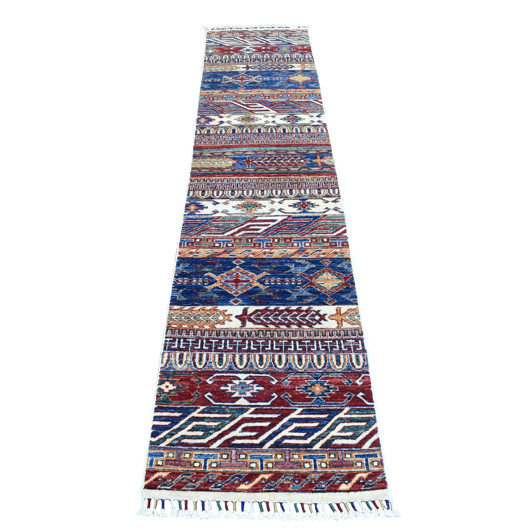 """2'X9'3"""" Khorjin Design Runner Blue Super Kazak Tribal Pure Wool Hand Knotted Oriental Rug moaeb8e8"""