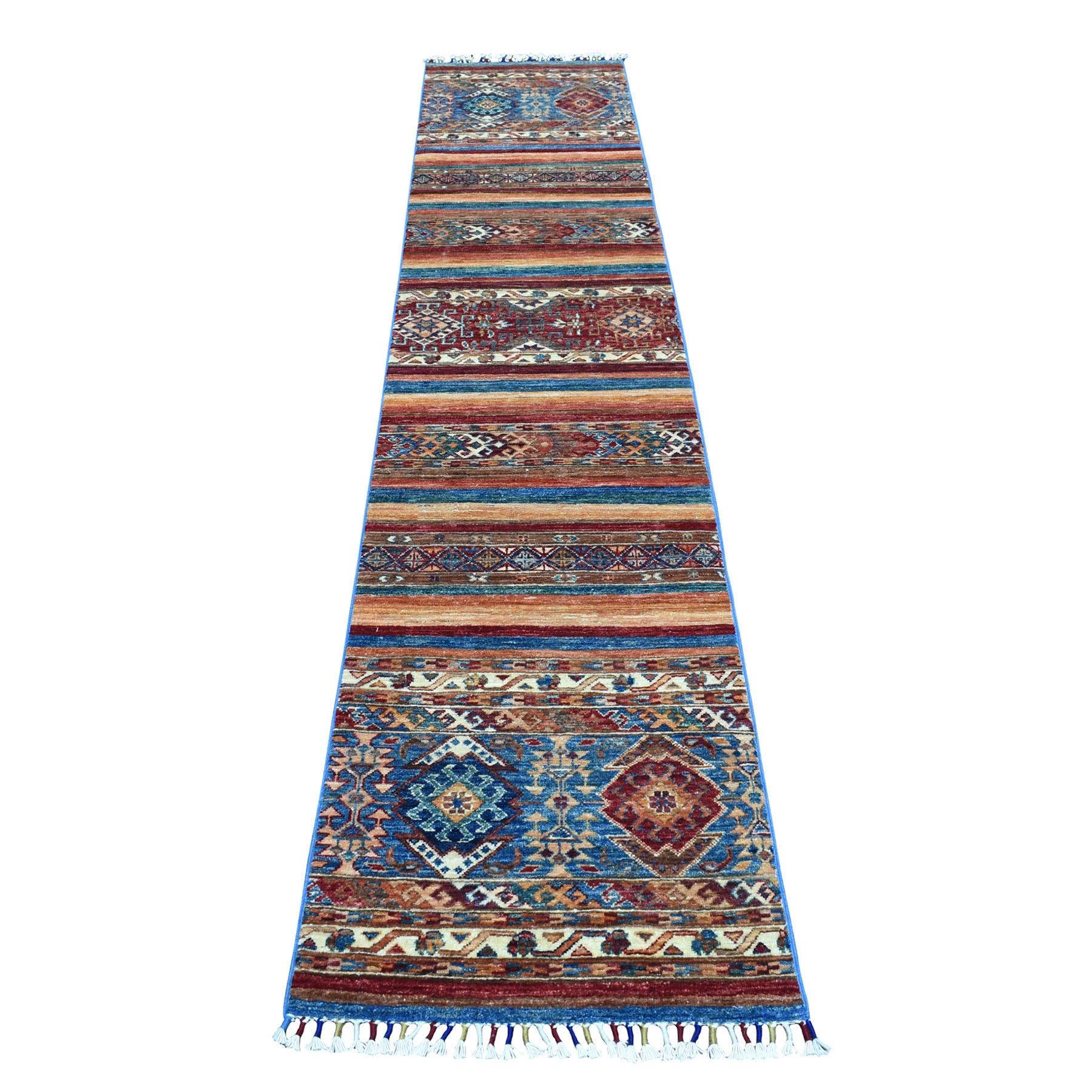 2'X10' Khorjin Design Runner Red Super Kazak Tribal Hand Knotted Pure Wool Oriental Rug moaeb8e9