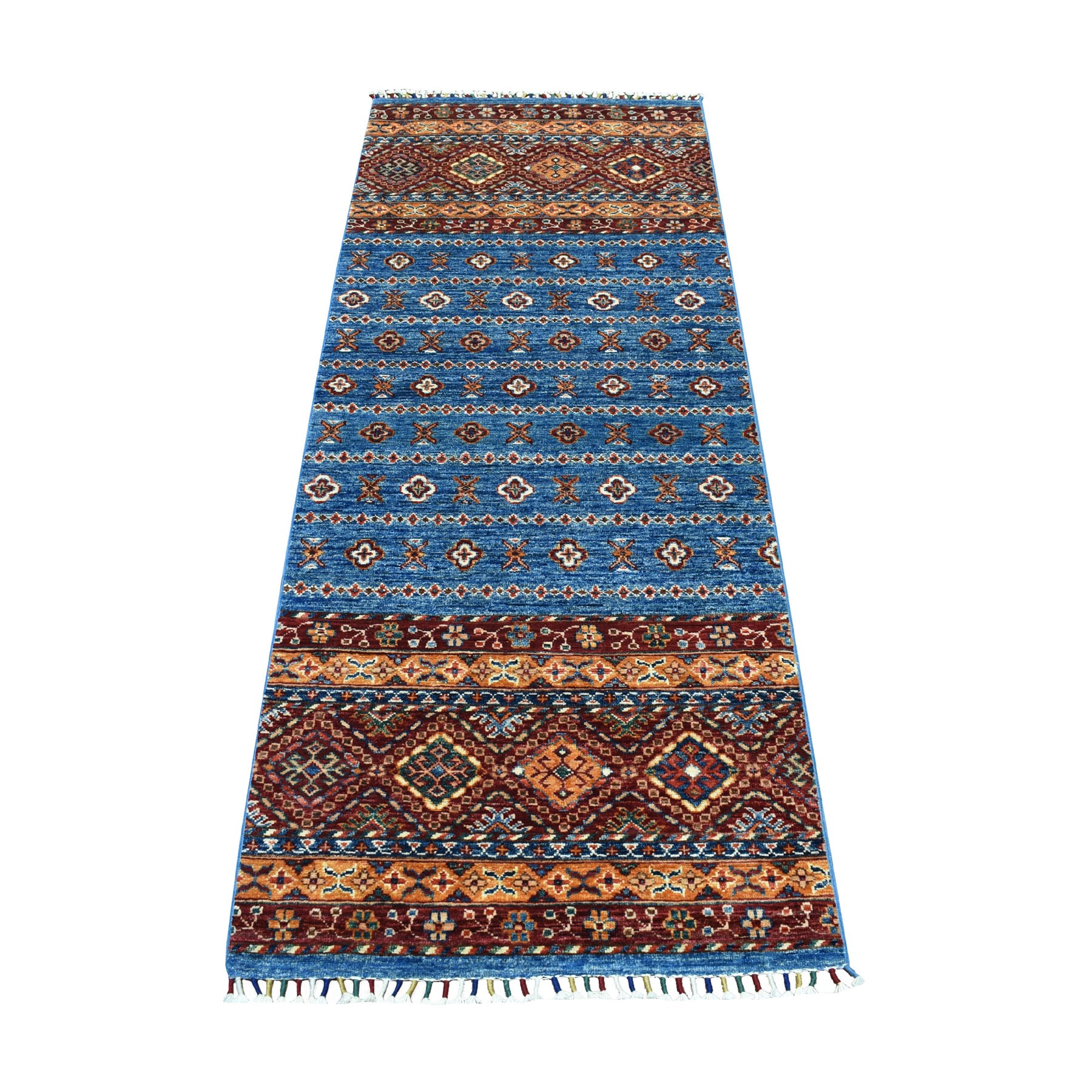 "6'7""X2'6"" Khorjin Design Runner Blue Super Kazak Geometric Pure Wool Hand Knotted Oriental Rug moaeb86a"