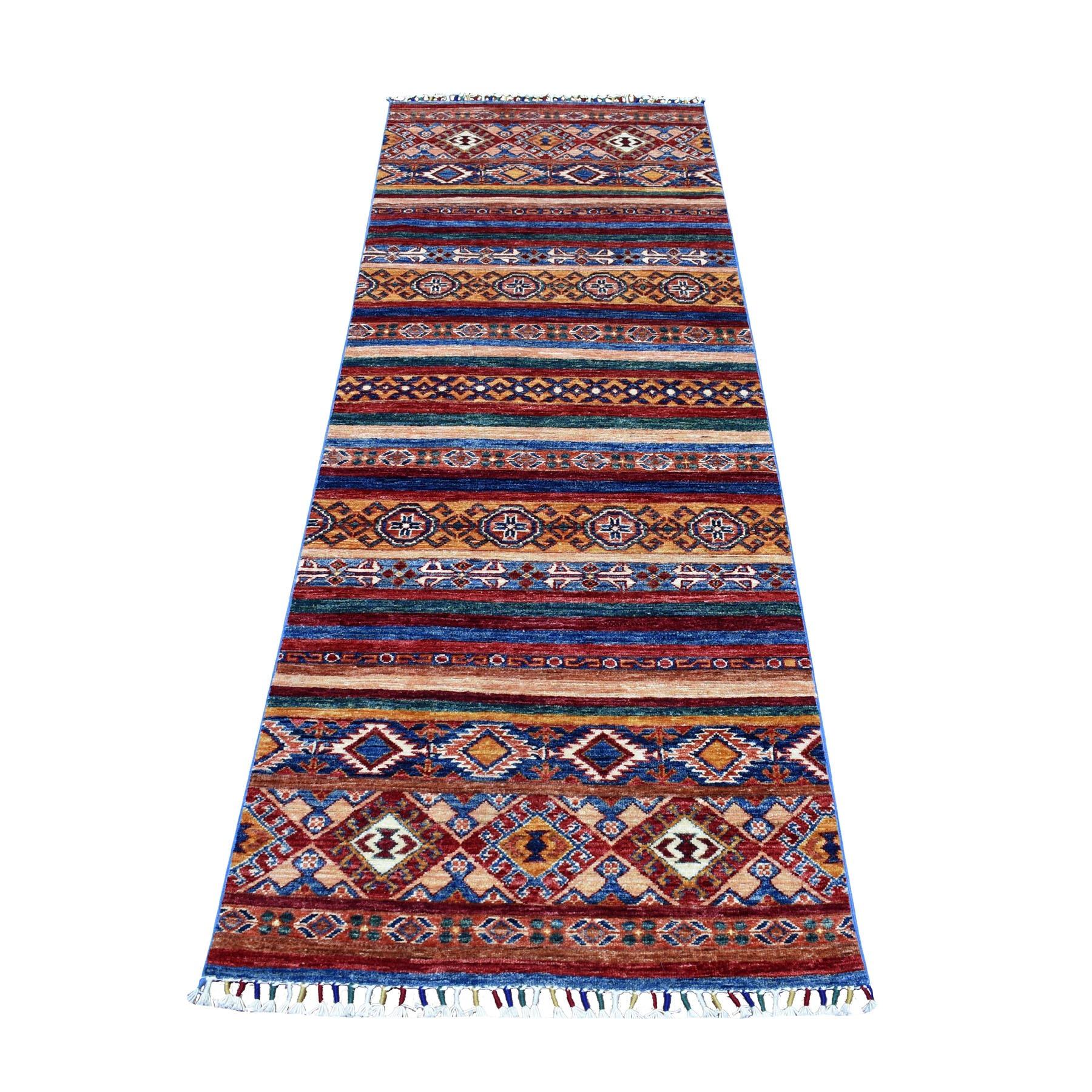 "2'9""X8' Khorjin Design Runner Red Super Kazak Tribal Hand Knotted Pure Wool Oriental Rug moaeb86d"