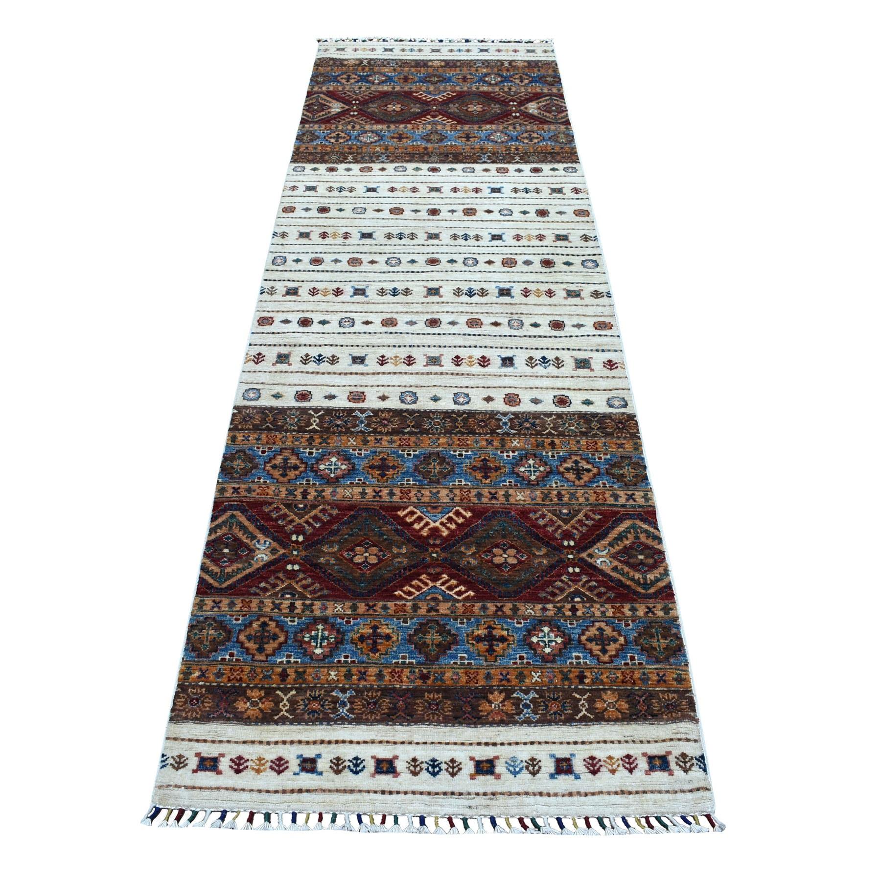 "2'9""X9' Ivory Khorjin Design Runner Super Kazak Geometric Hand Knotted Pure Wool Oriental Rug moaeb86e"