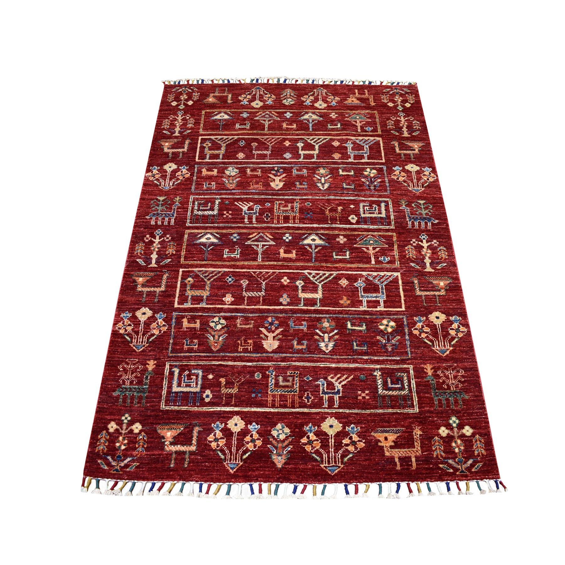 "3'3""X5'1"" Red Kashkuli Design Super Kazak Pictorial Hand Knotted 100% Wool Oriental Rug moaeb867"