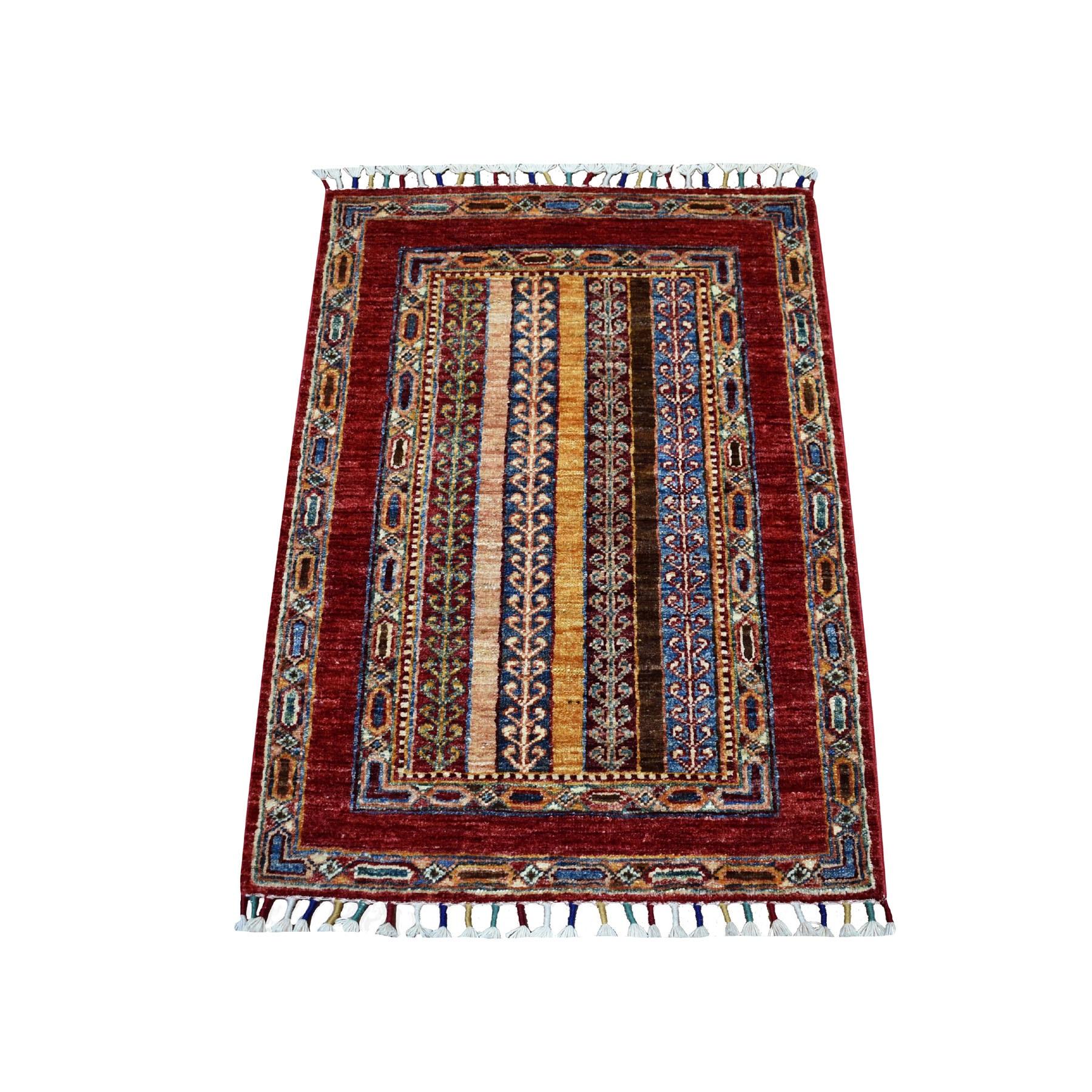 "2'1""X3' Red Shawl Design Super Kazak Pure Wool Hand Knotted Oriental Rug moaeb868"