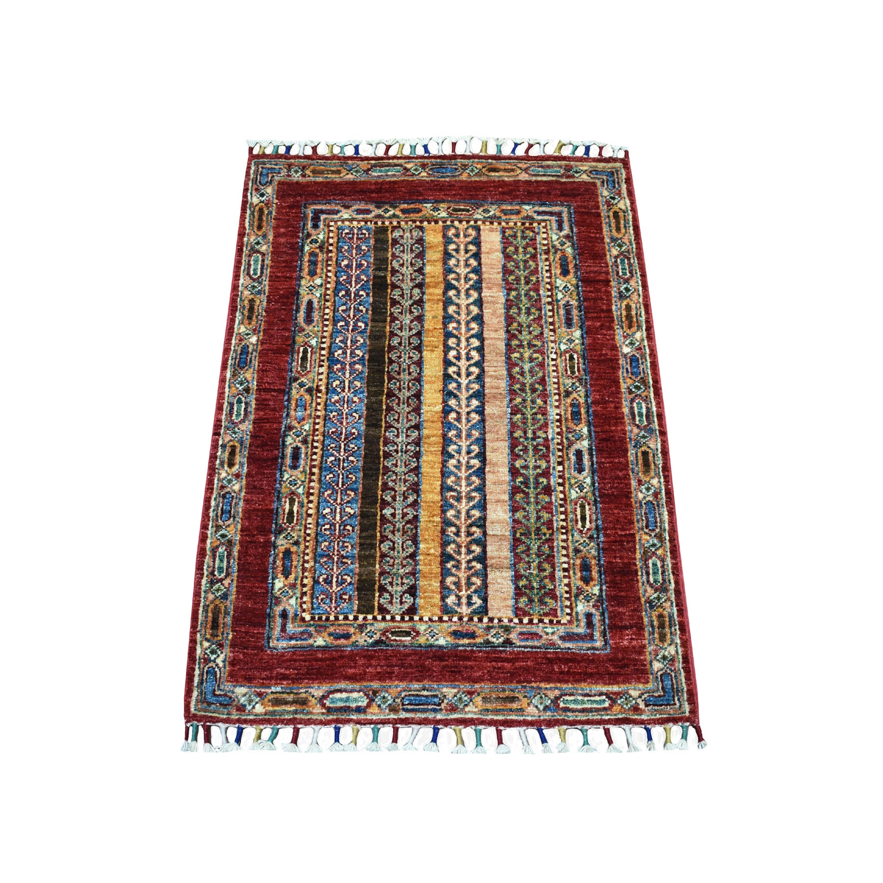 "2'1""X3' Red Shawl Design Super Kazak Tribal Pure Wool Hand Knotted Oriental Rug moaeb870"
