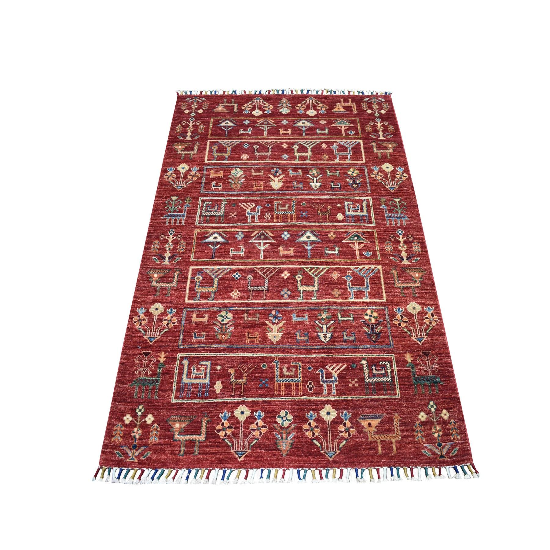 "3'3""X5' Kashkuli Design Red Super Kazak Pictorial Hand Knotted 100% Wool Oriental Rug moaeb87a"