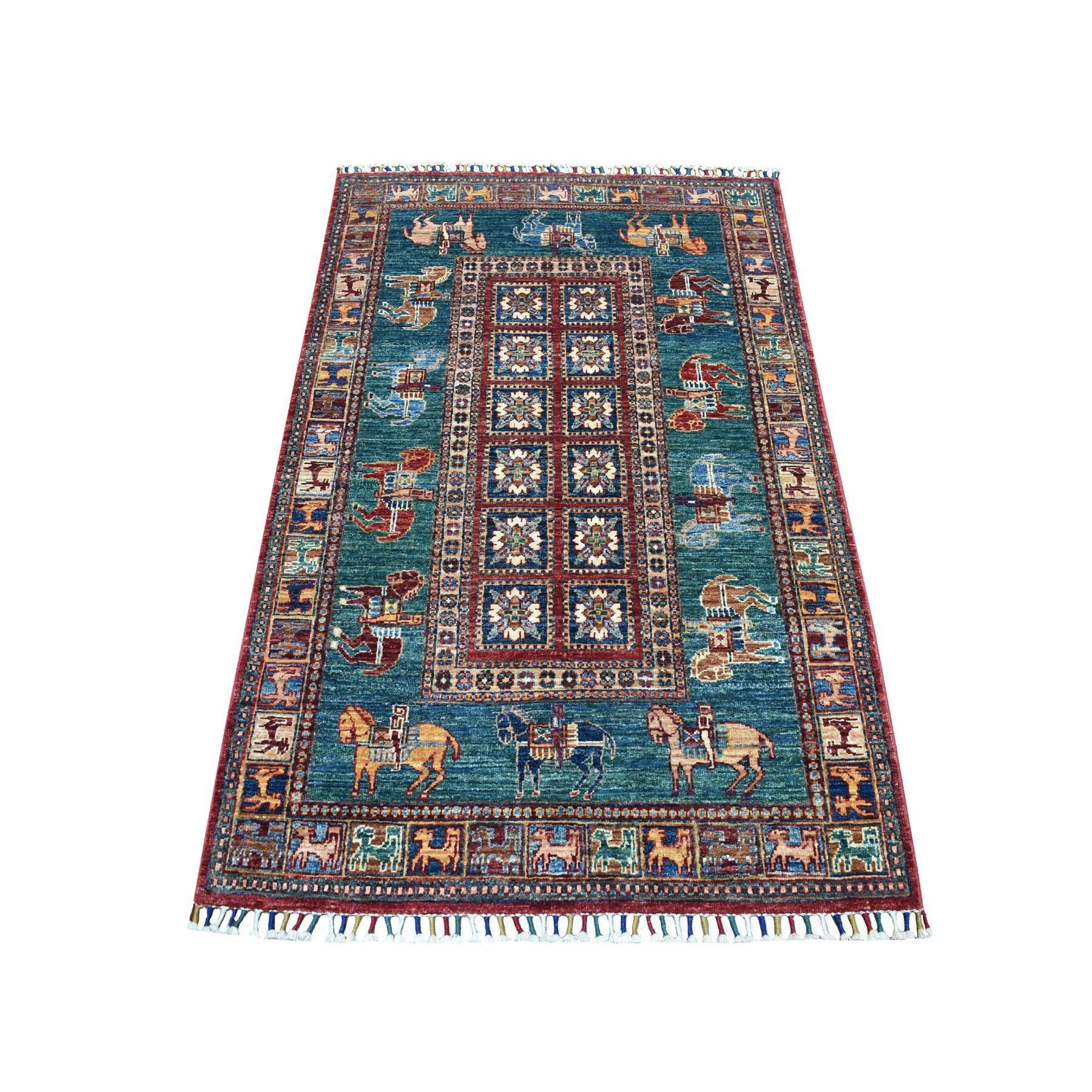 "3'3""x5' Teal Horse Design Super Kazak Tribal Pure Wool Hand Knotted Oriental Rug 52873"