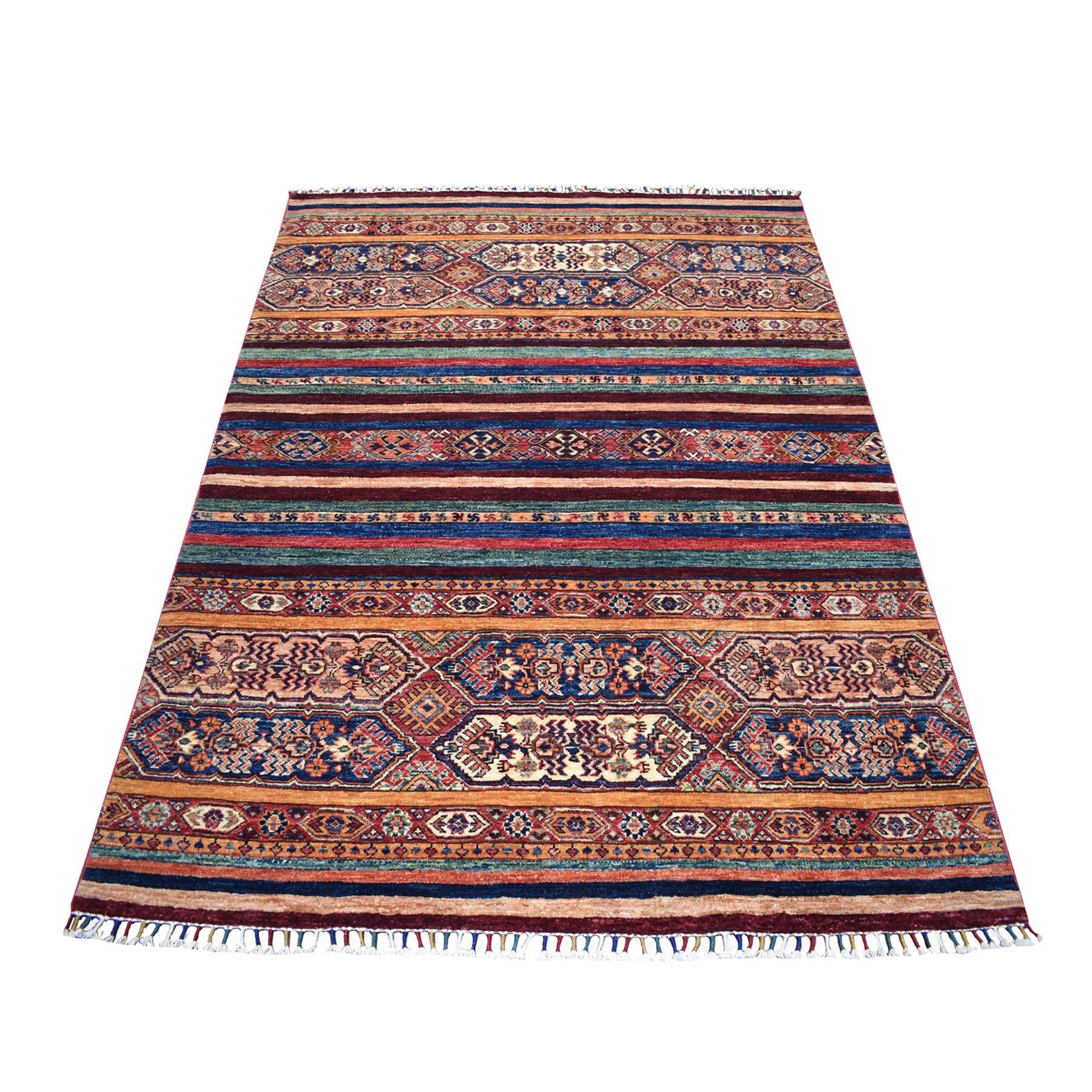 "4'10""X6'5"" Khorjin Design Blue Super Kazak Tribal Pure Wool Hand Knotted Oriental Rug moaeb87d"