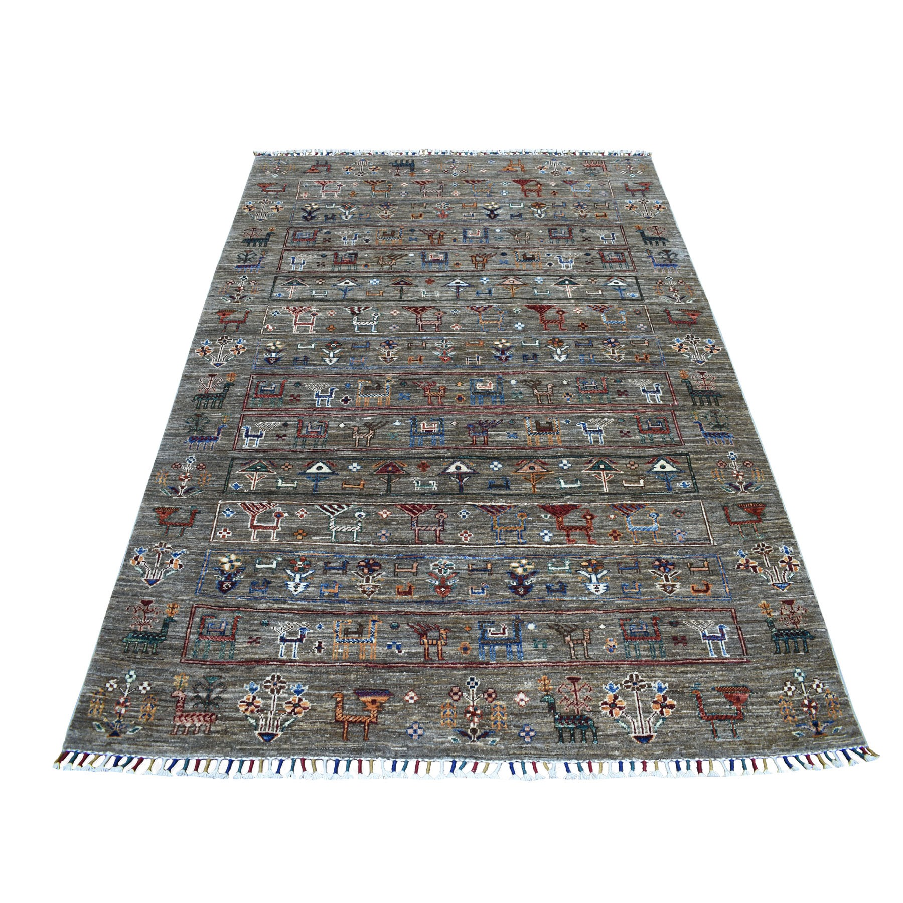 "5'X6'10"" Gray Kashkuli Design Super Kazak Pictorial Pure Wool Hand Knotted Oriental Rug moaeb87e"