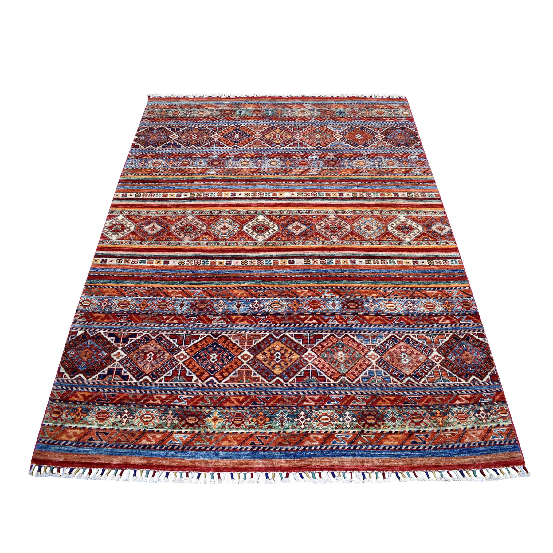 "5'X6'3"" Khorjin Design Red Super Kazak Geometric Pure Wool Hand Knotted Oriental Rug moaeb876"