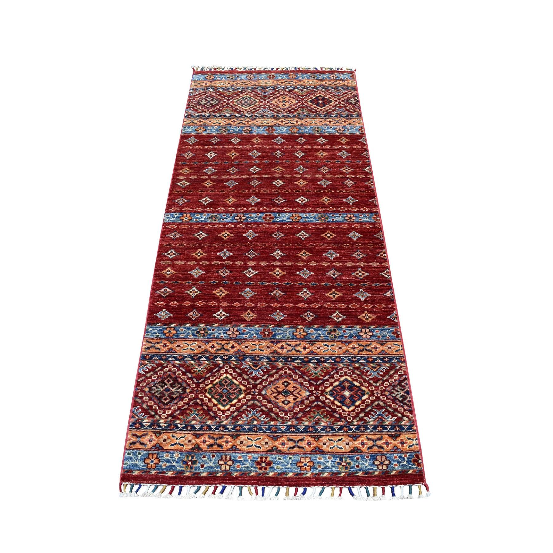 "2'7""X6'4"" Khorjin Design Runner Red Super Kazak Geometric Pure Wool Hand Knotted Oriental Rug moaeb878"