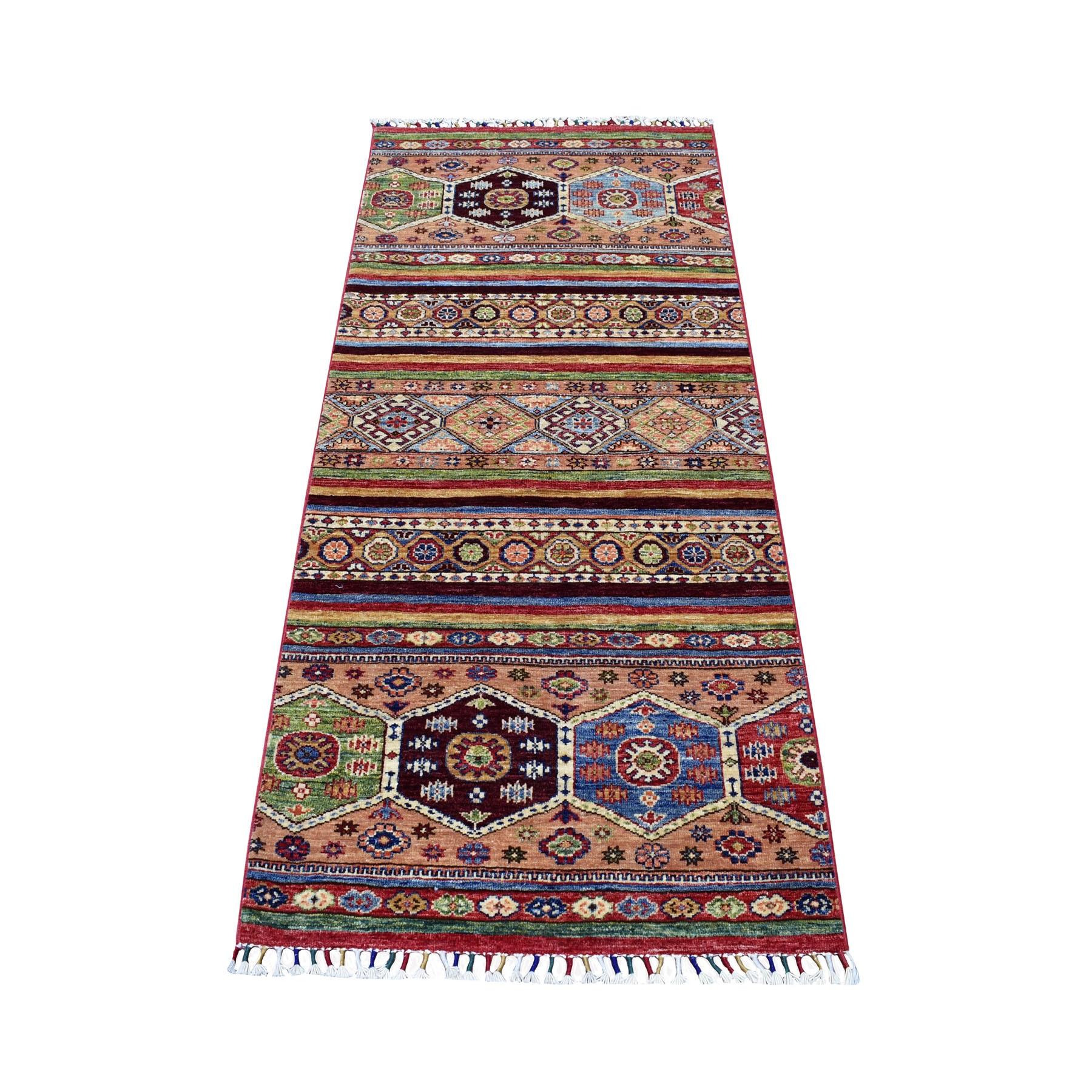 "2'8""X5'10"" Khorjin Design Runner Gold Super Kazak Tribal Hand Knotted Pure Wool Oriental Rug moaeb879"