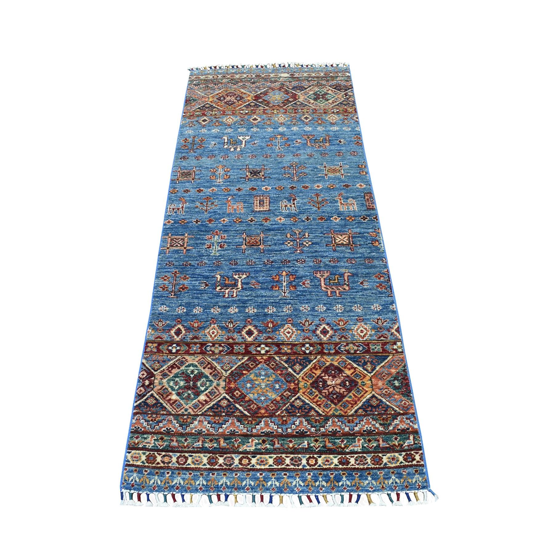 "2'6""X6'10"" Blue Khorjin Design Super Kazak Pictorial Pure Wool Hand Knotted Runner Oriental Rug moaeb880"