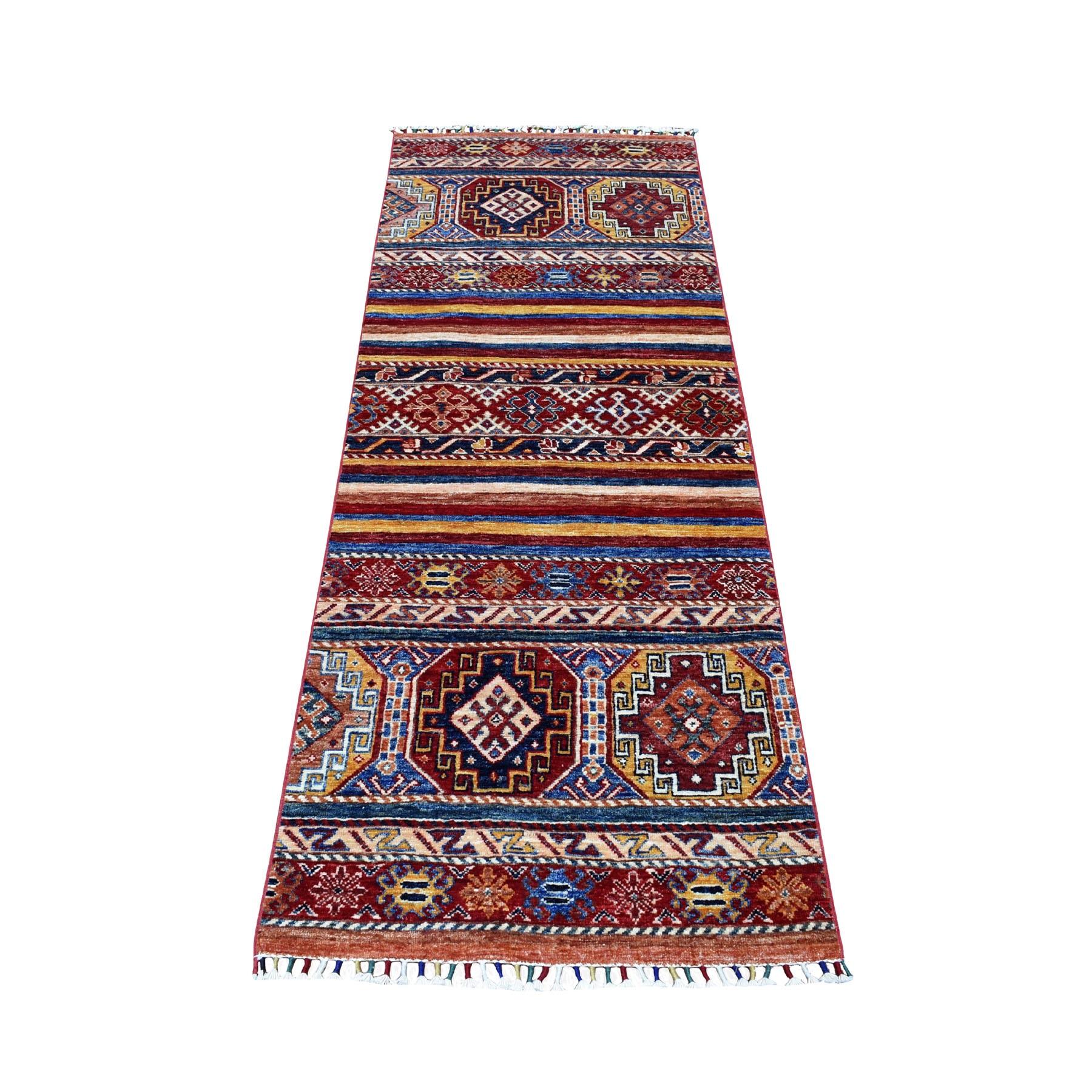 "2'5""X6'7"" Red Khorjin Design Runner Super Kazak Geometric Hand Knotted Pure Wool Oriental Rug moaeb88a"