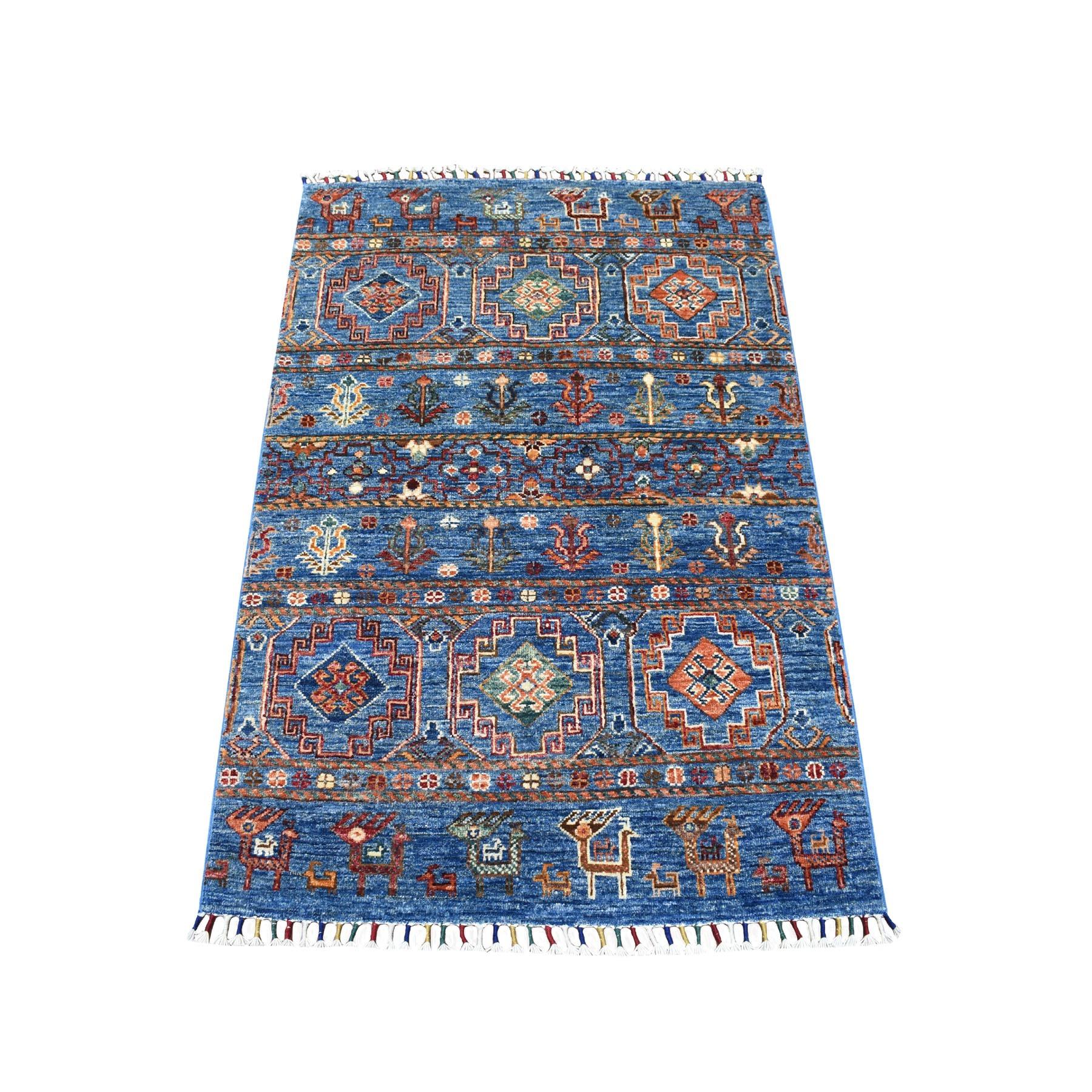 "2'10""X4'2"" Blue Khorjin Design Super Kazak Pictorial Pure Wool Hand Knotted Oriental Rug moaeb88b"