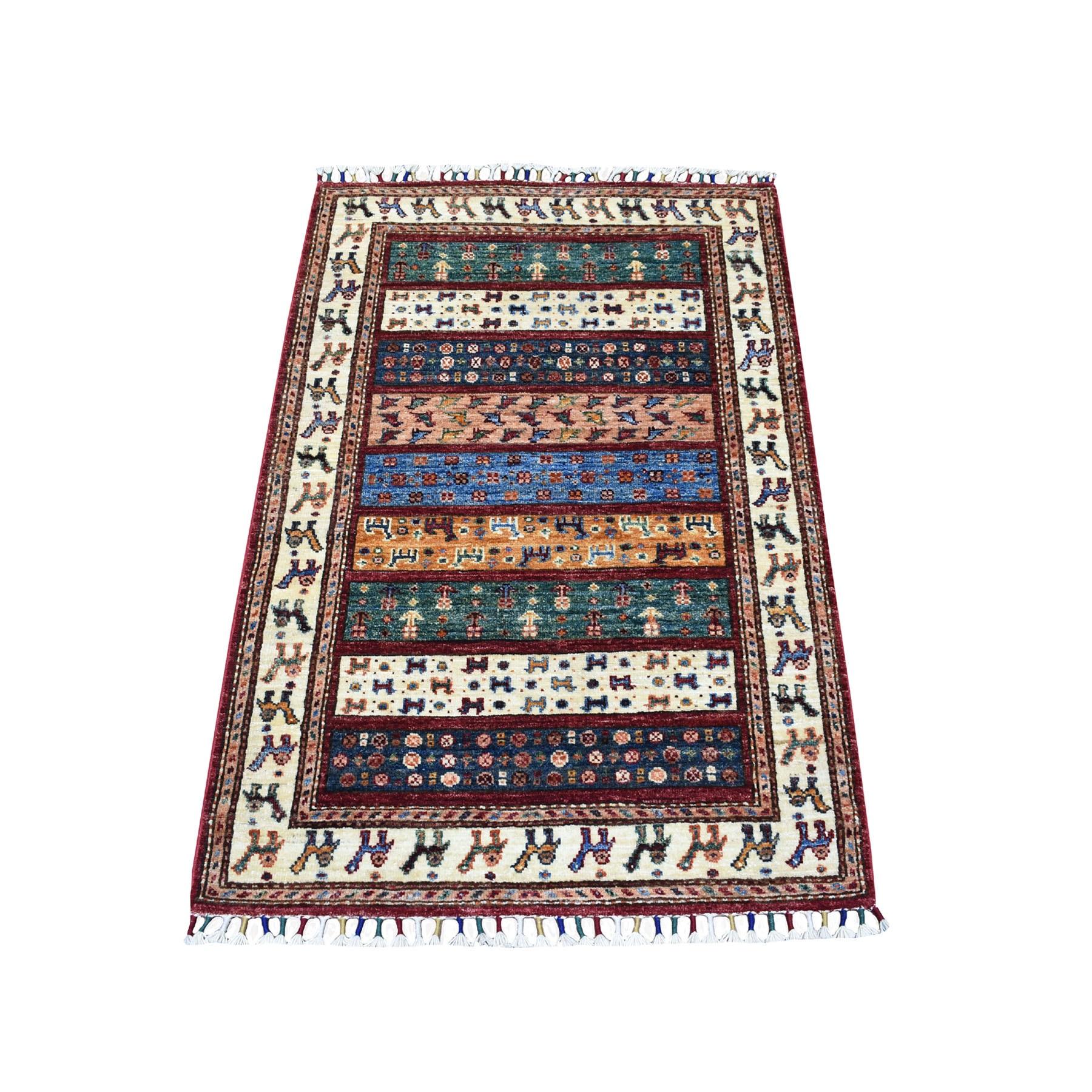 "2'8""X4'1"" Blue Khorjin Design Super Kazak Camel Pure Wool Hand Knotted Oriental Rug moaeb88c"