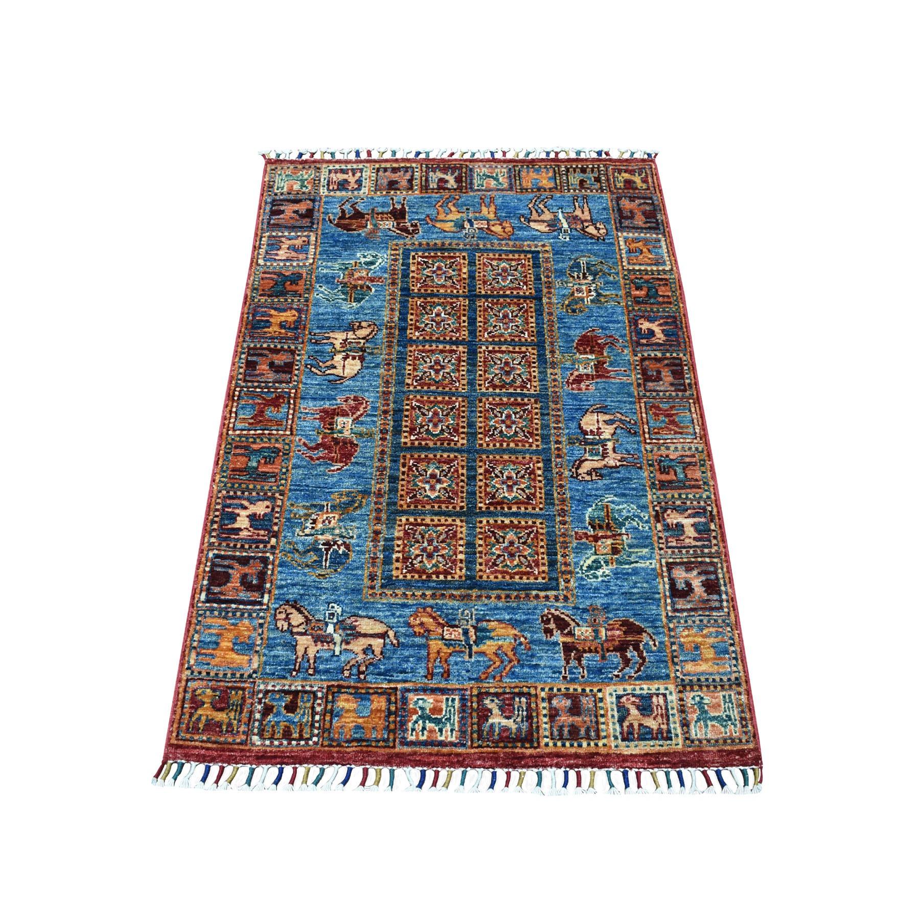 "2'10""X4'1"" Blue Horse Design Super Kazak Pictorial Pure Wool Hand Knotted Oriental Rug moaeb88d"