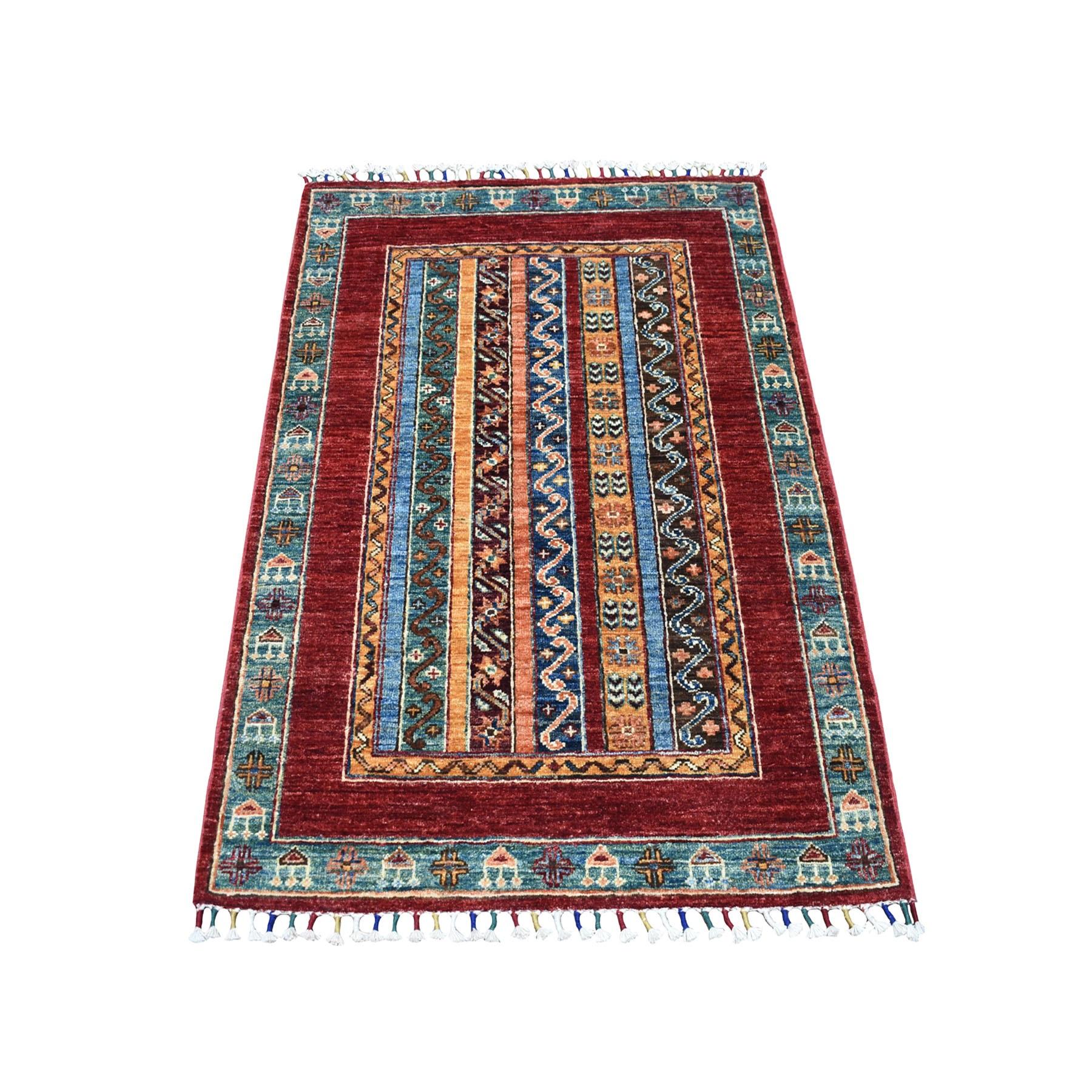 "2'9""X4'1"" Red Shawl Design Super Kazak Hand Knotted Pure Wool Oriental Rug moaeb88e"