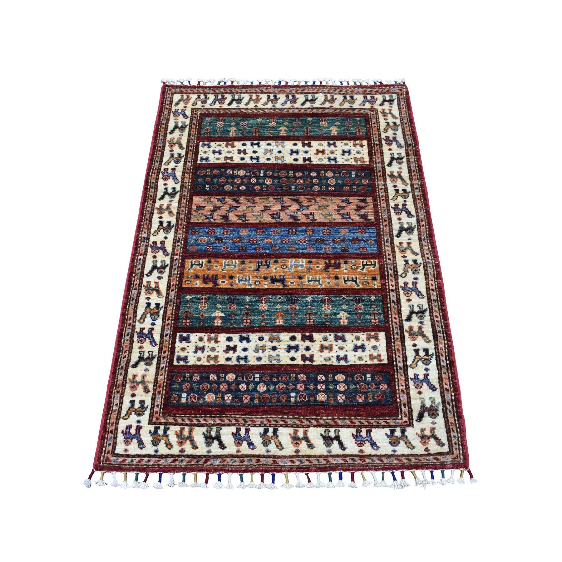 "2'8""X4'1"" Red Khorjin Design Super Kazak Camel Pure Wool Hand Knotted Oriental Rug moaeb886"
