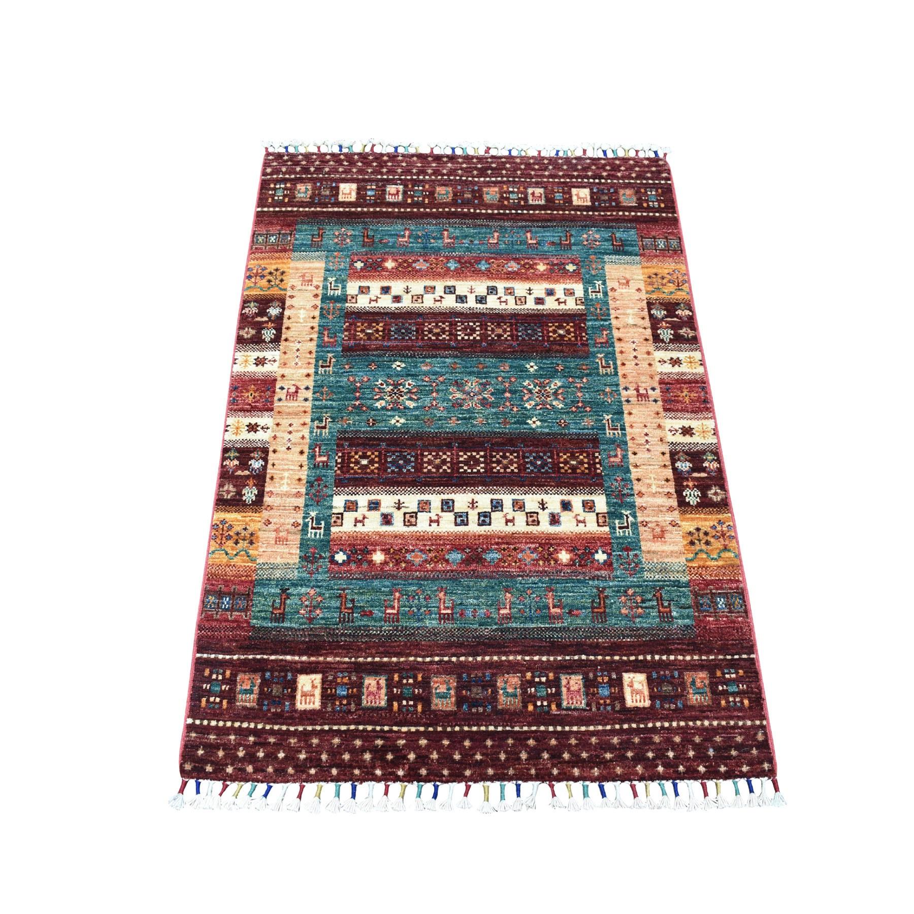 "2'9""X4' Red Kashkuli Design Super Kazak Pictorial Hand Knotted Pure Wool Oriental Rug moaeb887"
