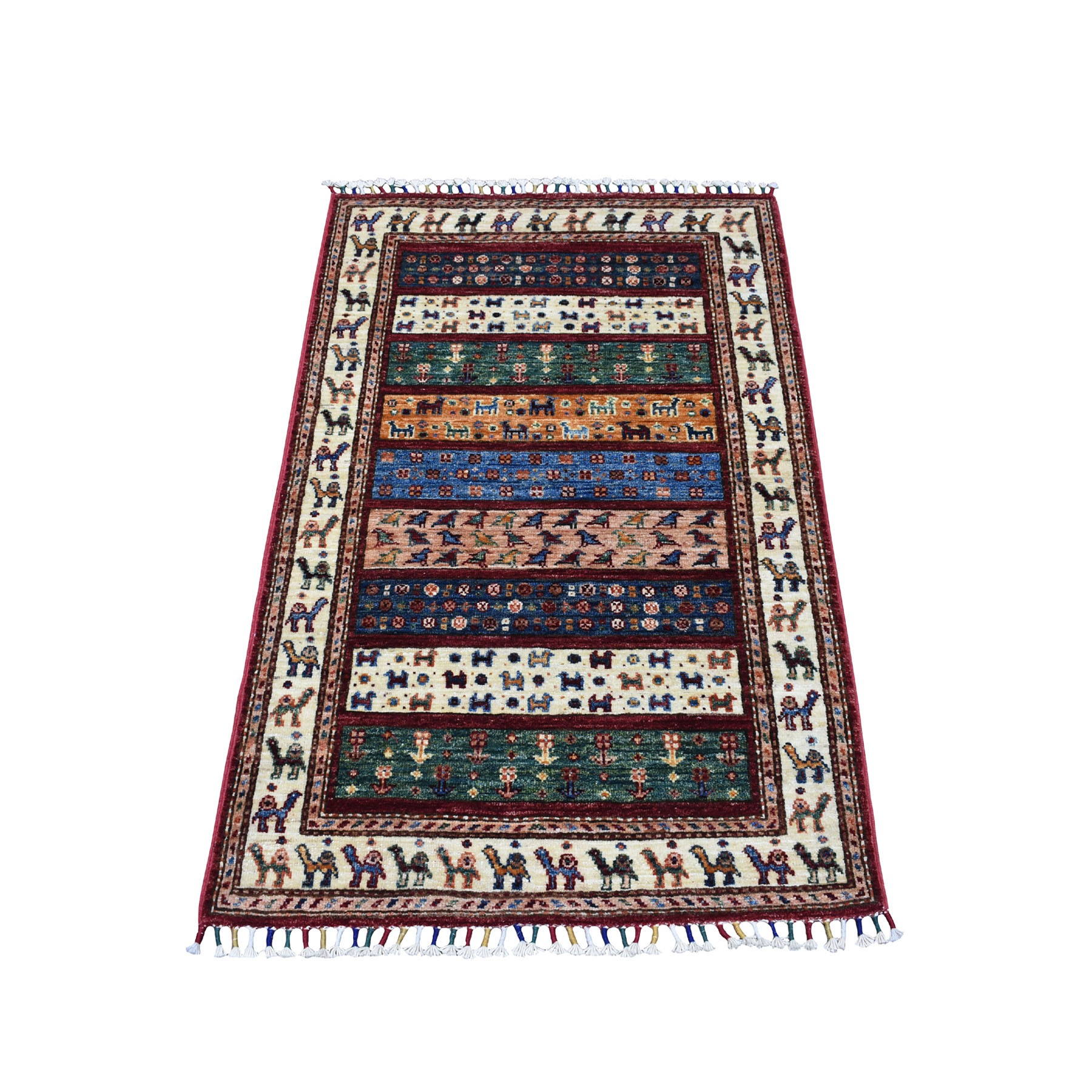"2'7""X4'1"" Red Khorjin Design Super Kazak Camel Pure Wool Hand Knotted Oriental Rug moaeb888"