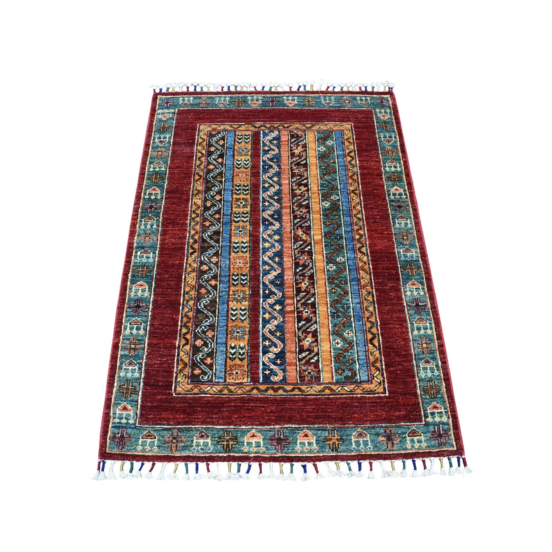 "2'9""X4'1"" Red Shawl Design Super Kazak Hand Knotted Pure Wool Oriental Rug moaeb889"