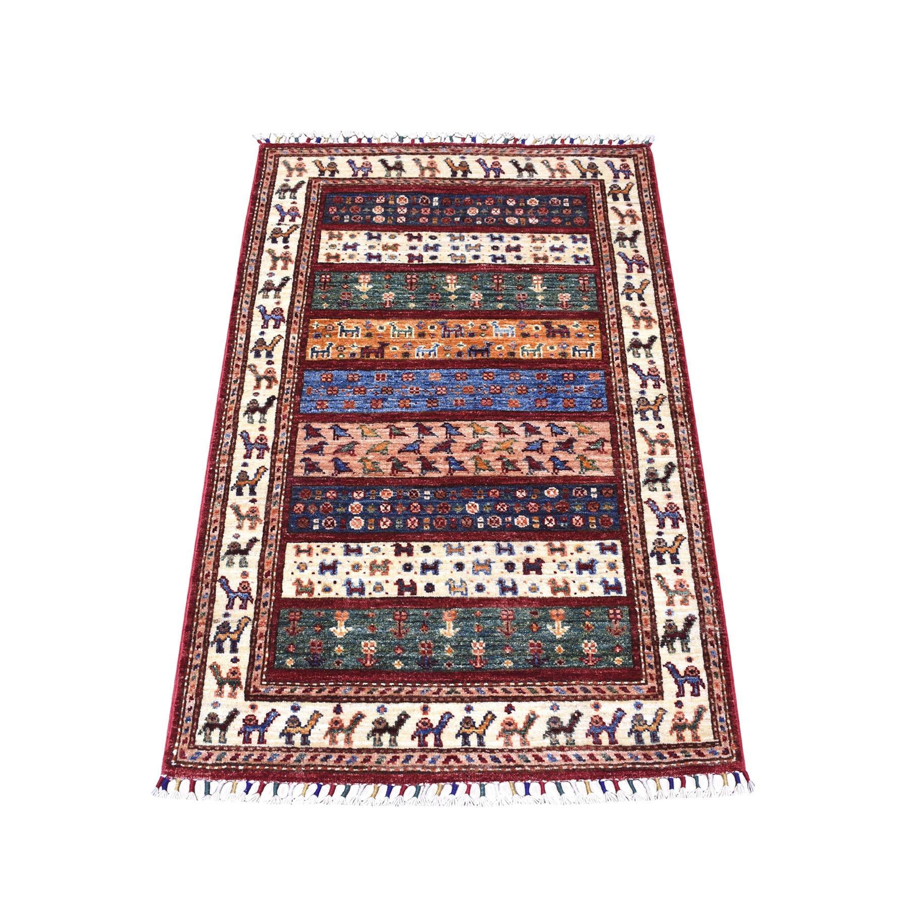 "2'8""X4'2"" Red Khorjin Design Super Kazak Camel Pure Wool Hand Knotted Oriental Rug moaeb89a"