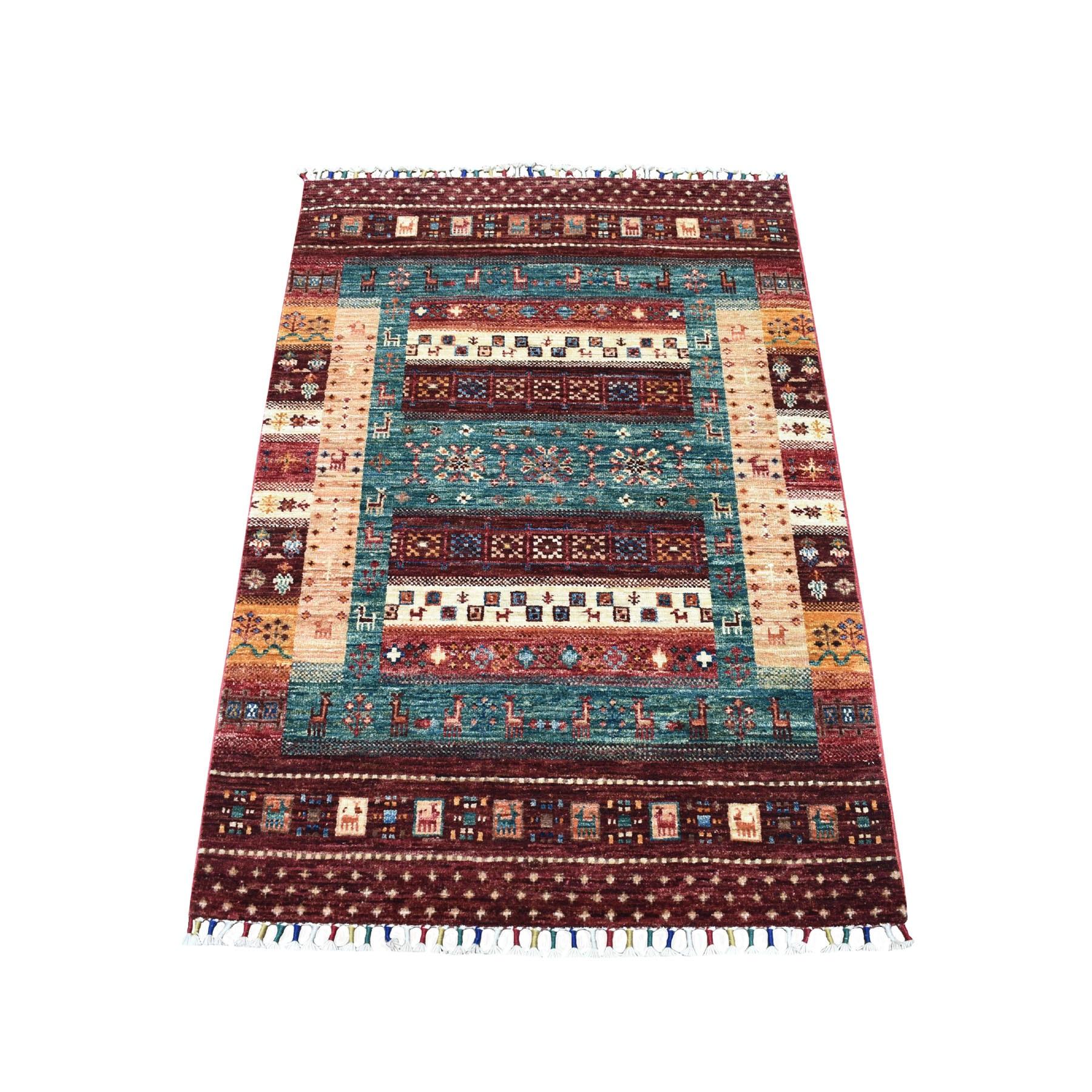 "2'8""X4' Red Kashkuli Design Super Kazak Pictorial Hand Knotted Pure Wool Oriental Rug moaeb89c"
