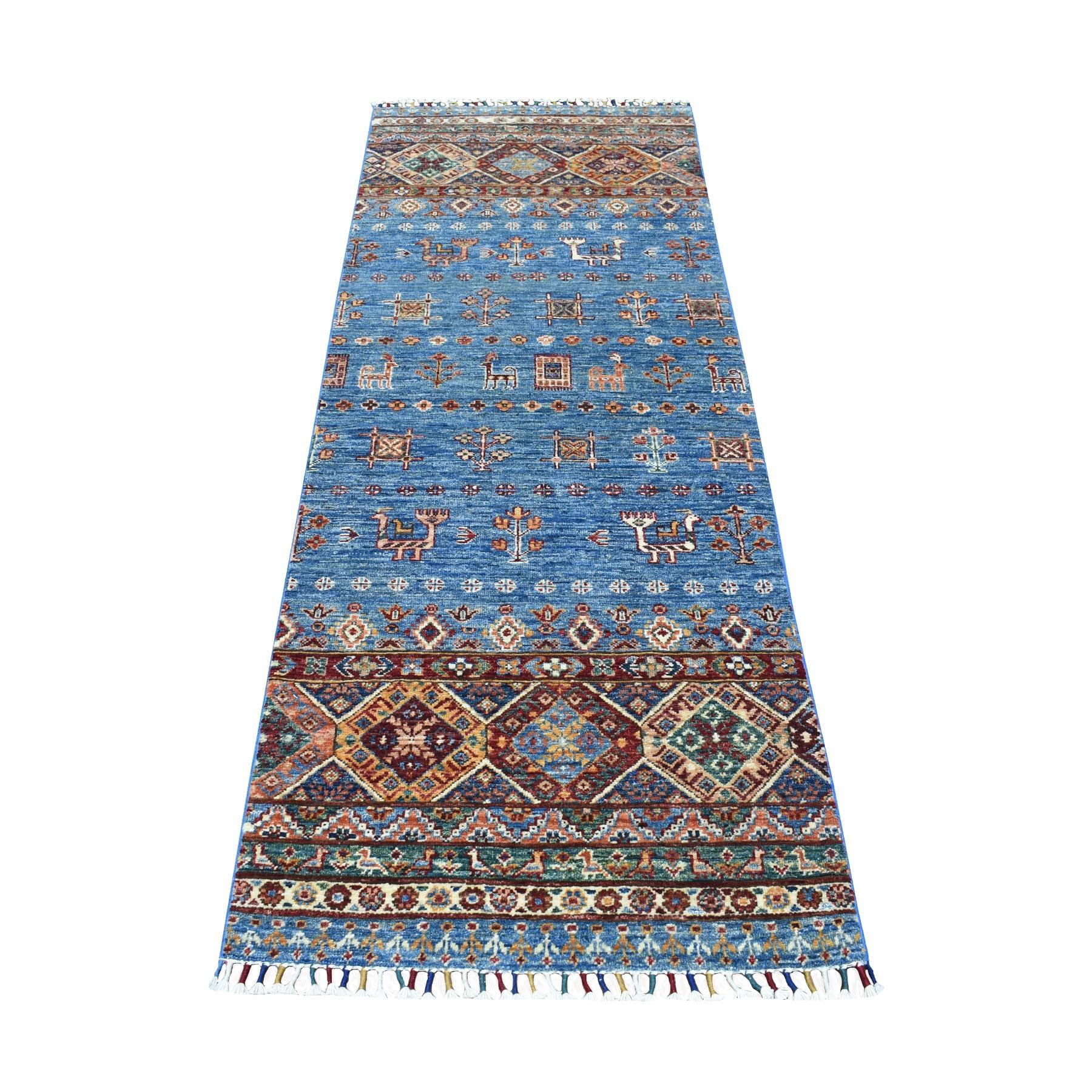 "2'6""X6'10"" Blue Khorjin Design Runner Super Kazak Pictorial Pure Wool Hand Knotted Oriental Rug moaeb89d"