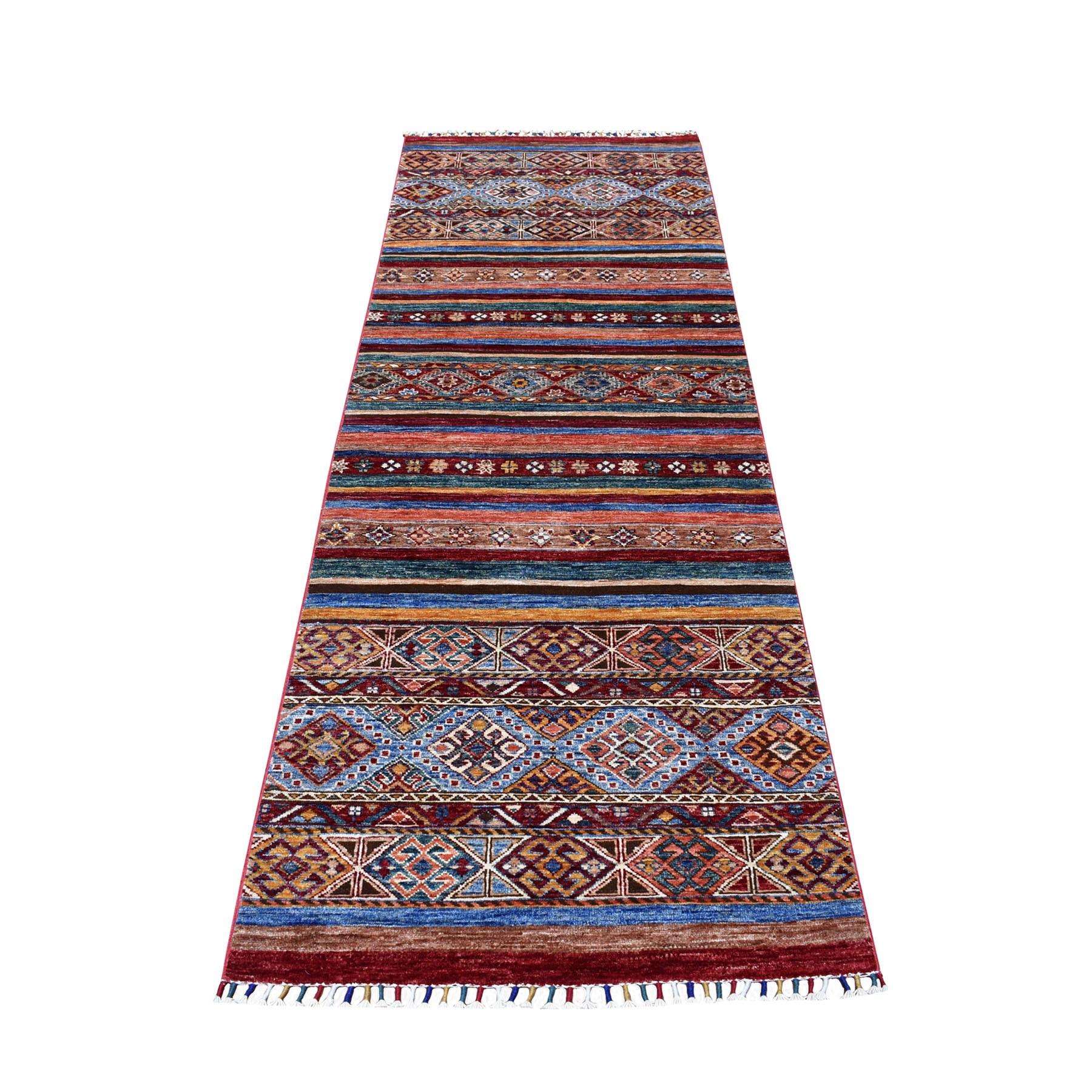 "2'9""X8'2"" Red Khorjin Design Runner Super Kazak Geometric Pure Wool Hand Knotted Oriental Rug moaeb89e"