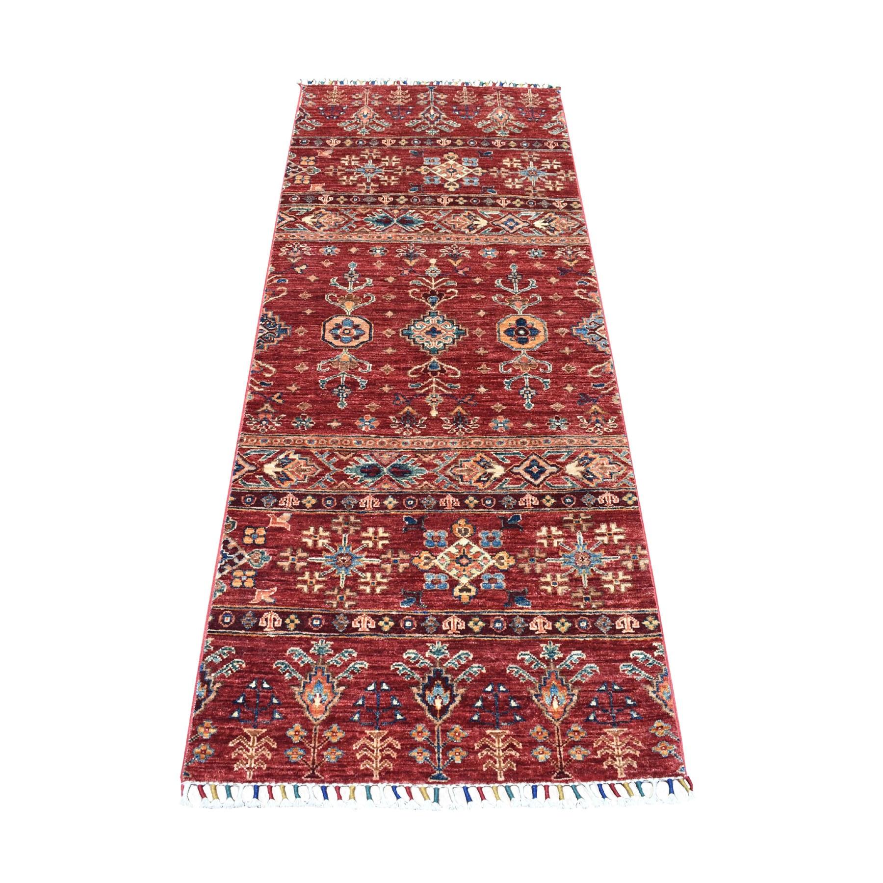 "2'7""x6'5"" Red Khorjin Design Runner Super Kazak Geometric Pure Wool Hand Knotted Oriental Rug 52896"