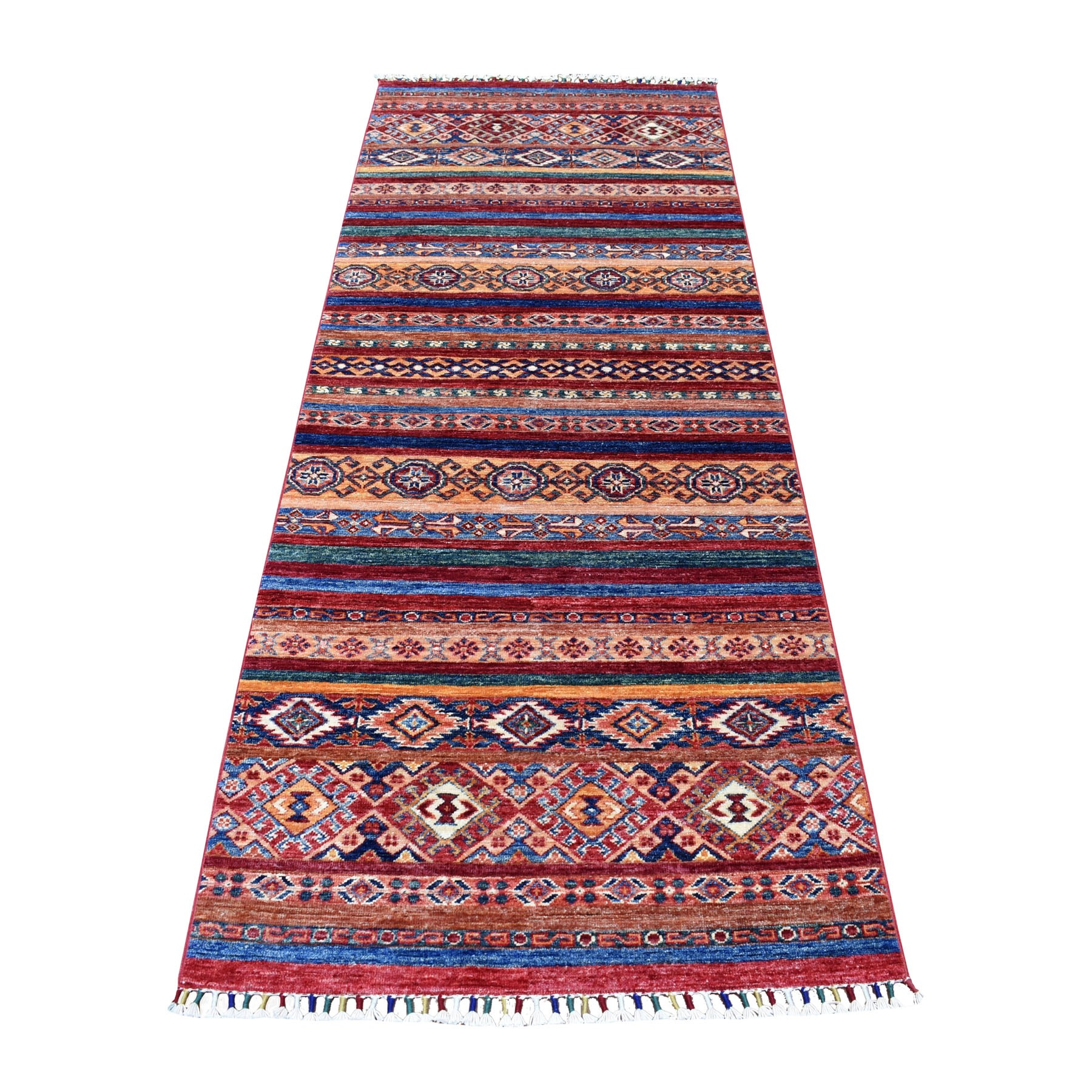"3'X8'3"" Red Khorjin Design Runner Super Kazak Tribal Hand Knotted Pure Wool Oriental Rug moaeb897"