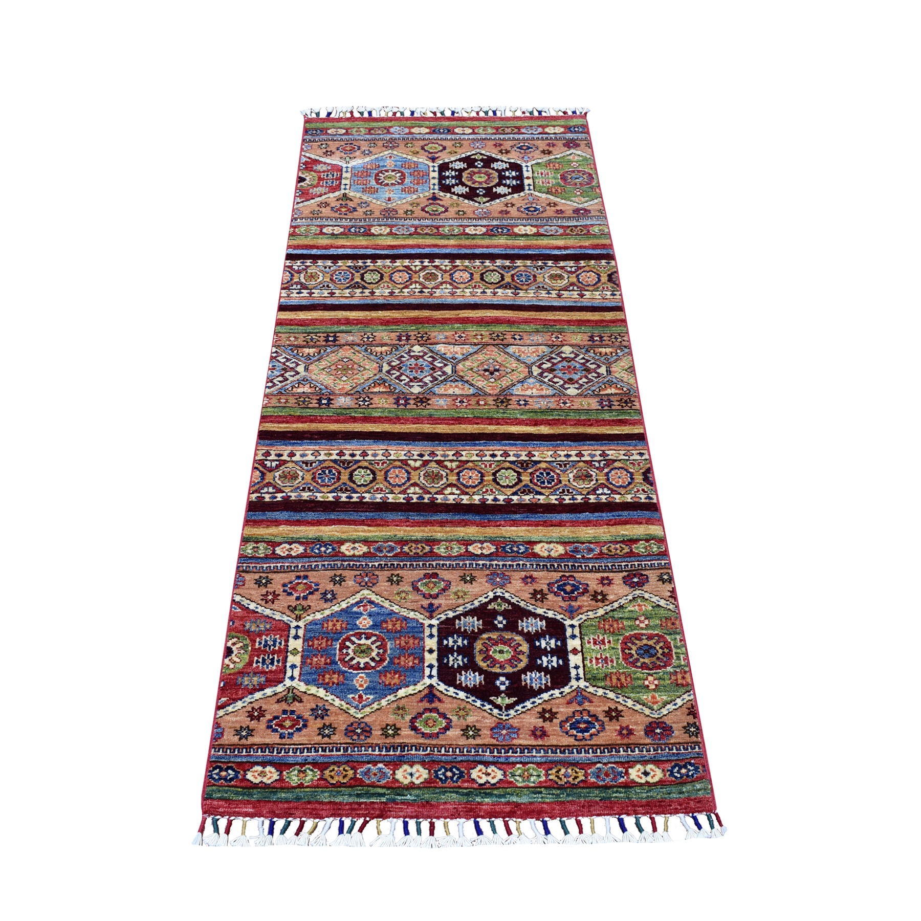"2'5""X5'10"" Green Khorjin Design Runner Super Kazak Tribal Hand Knotted Pure Wool Oriental Rug moaeb898"