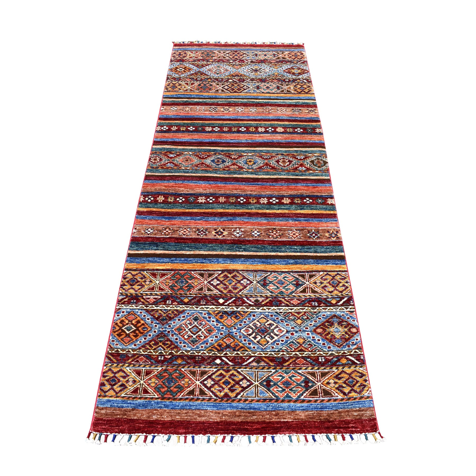 "2'9""X8'1"" Red Khorjin Design Runner Super Kazak Geometric Pure Wool Hand Knotted Oriental Rug moaeb899"