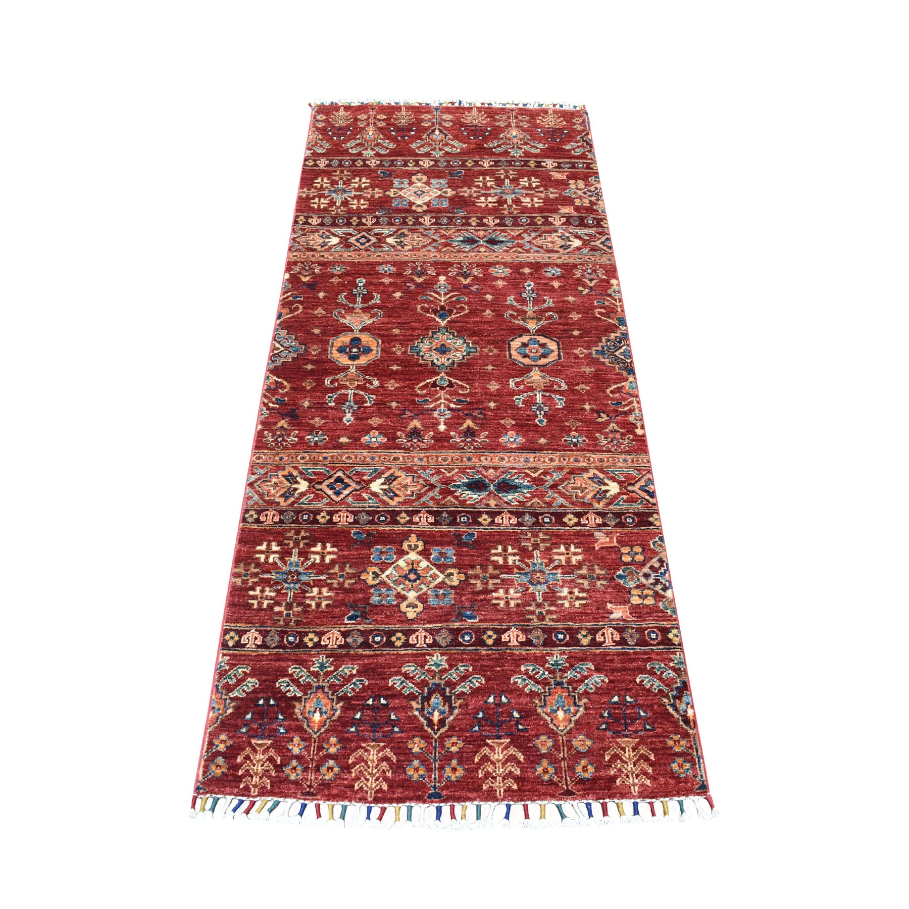 "2'7""X6'5"" Red Khorjin Design Runner Super Kazak Geometric Pure Wool Hand Knotted Oriental Rug moaeb900"