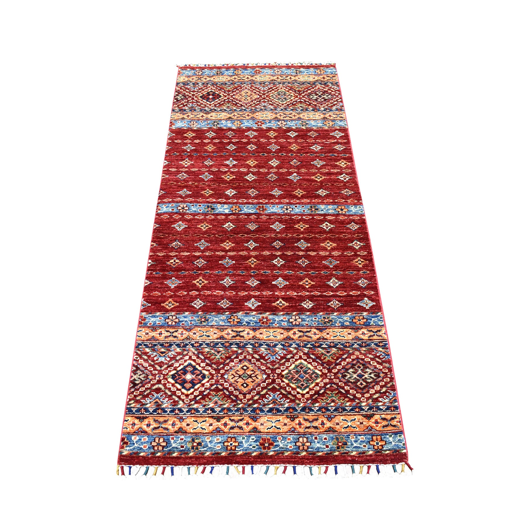 "2'7""X6'3"" Red Khorjin Design Runner Super Kazak Geometric Pure Wool Hand Knotted Oriental Rug moaeb90a"
