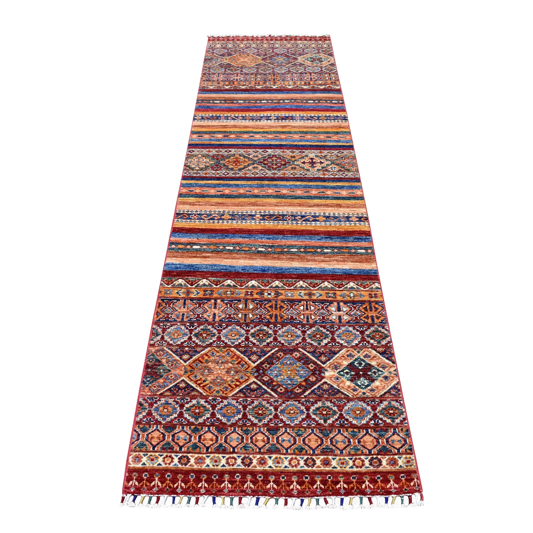 "2'5""X10' Red Khorjin Design Runner Super Kazak Geometric Pure Wool Hand Knotted Oriental Rug moaeb90b"