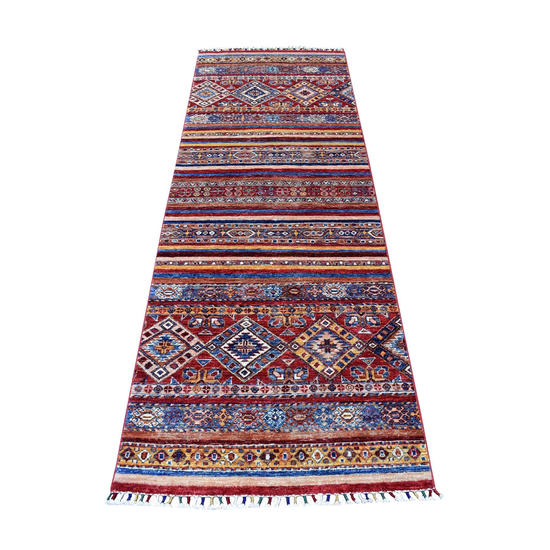 "2'8""X7'10"" Red Khorjin Design Runner Super Kazak Geometric Pure Wool Hand Knotted Oriental Rug moaeb90c"