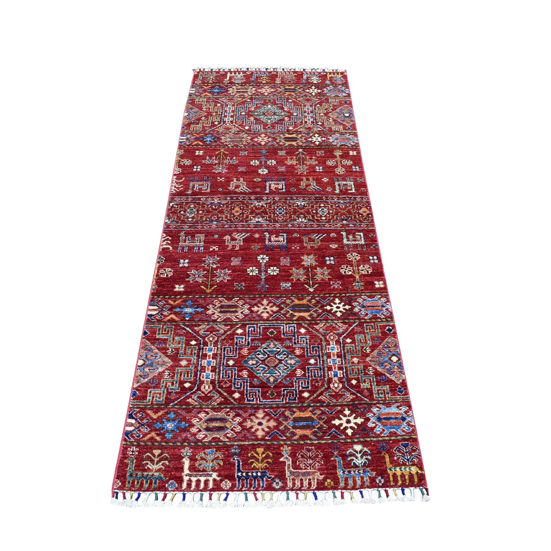 "2'5""X6'9"" Red Khorjin Design Runner Super Kazak Geometric Pure Wool Hand Knotted Oriental Rug moaeb90d"
