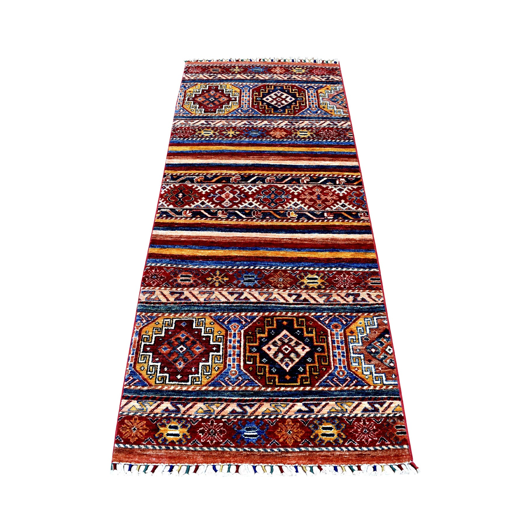 "2'7""X6'7"" Red Khorjin Design Runner Super Kazak Geometric Hand Knotted Pure Wool Oriental Rug moaeb90e"