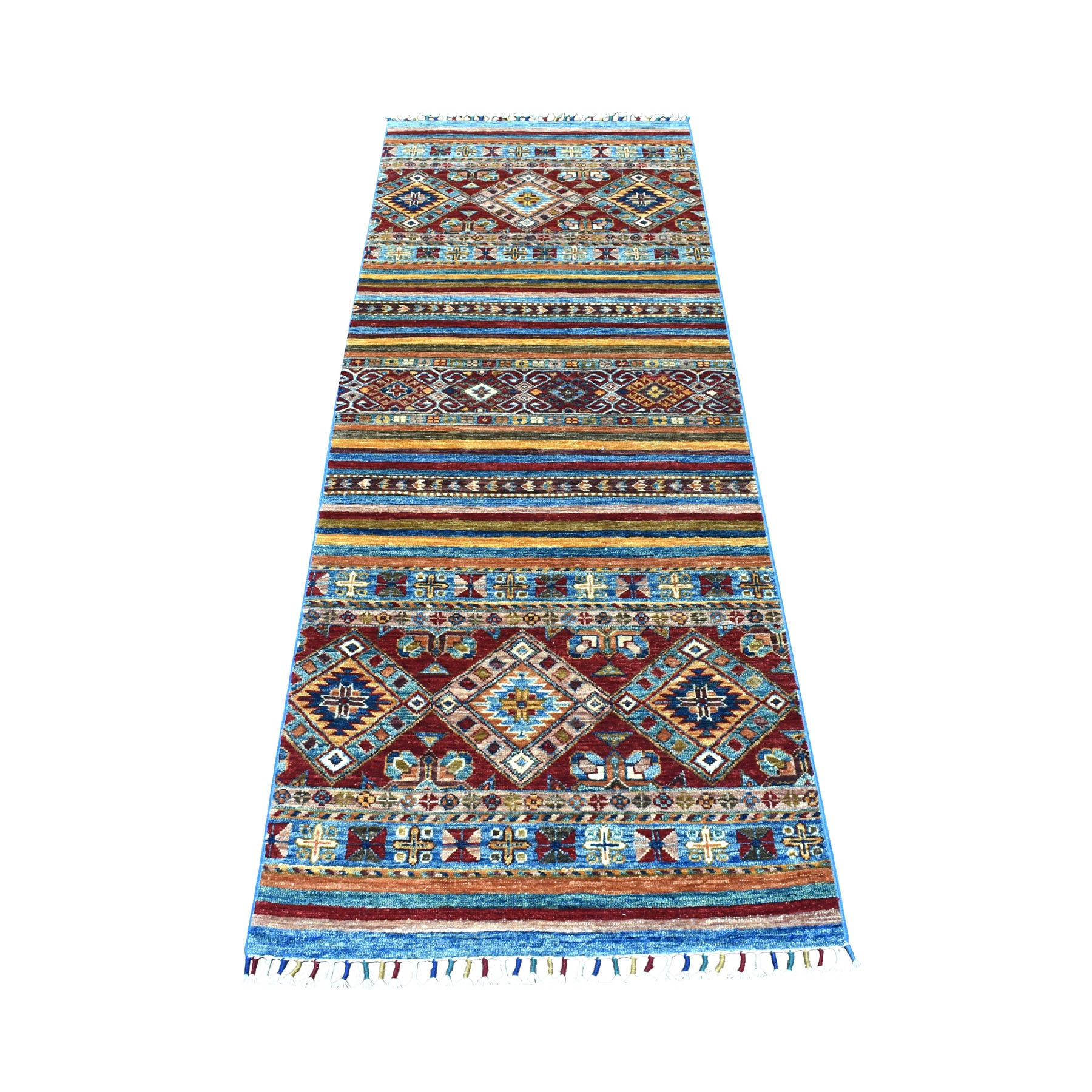 "2'5""X6'7"" Red Khorjin Design Runner Super Kazak Tribal Hand Knotted Pure Wool Oriental Rug moaeb908"