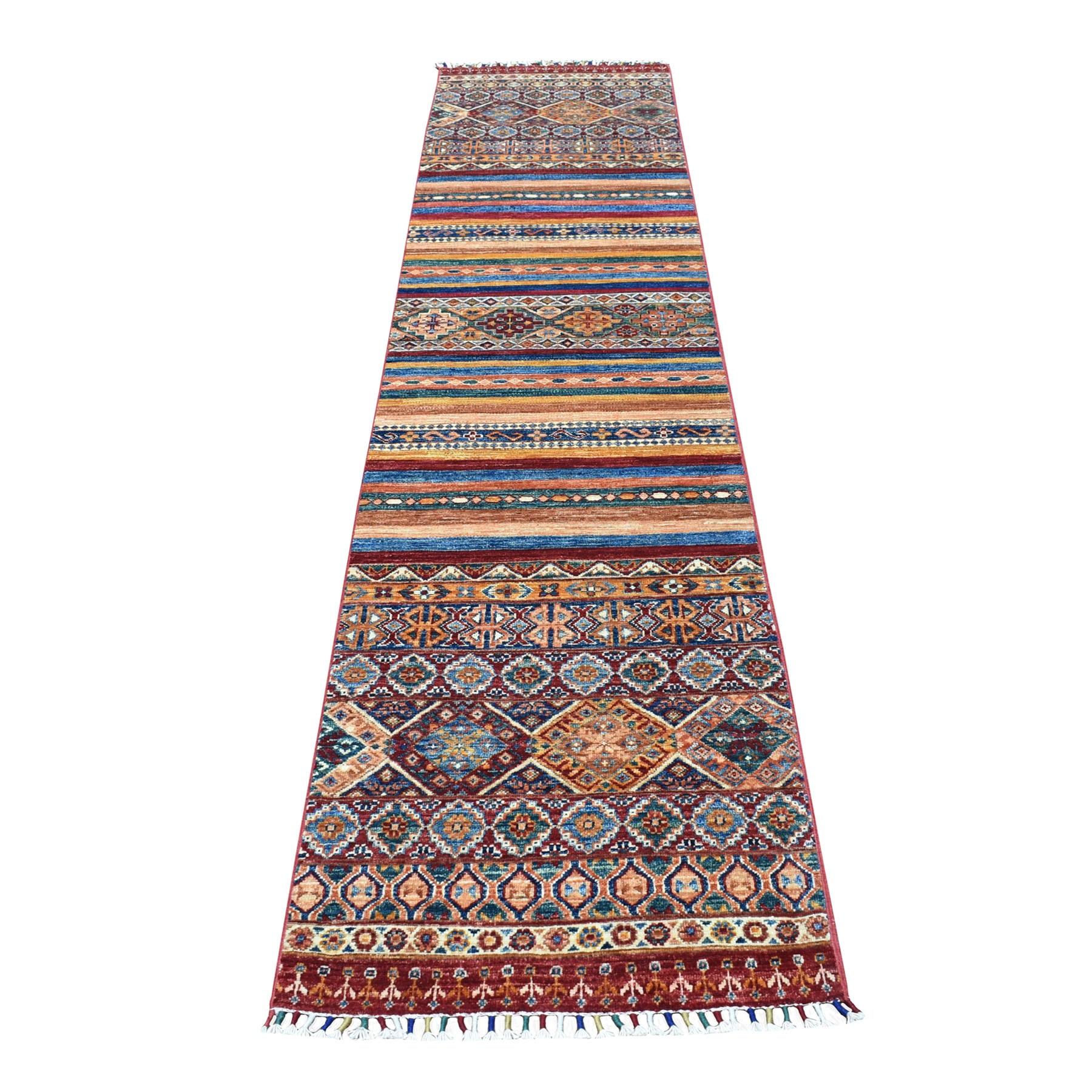"2'2""X10' Red Khorjin Design Runner Super Kazak Geometric Pure Wool Hand Knotted Oriental Rug moaeb909"