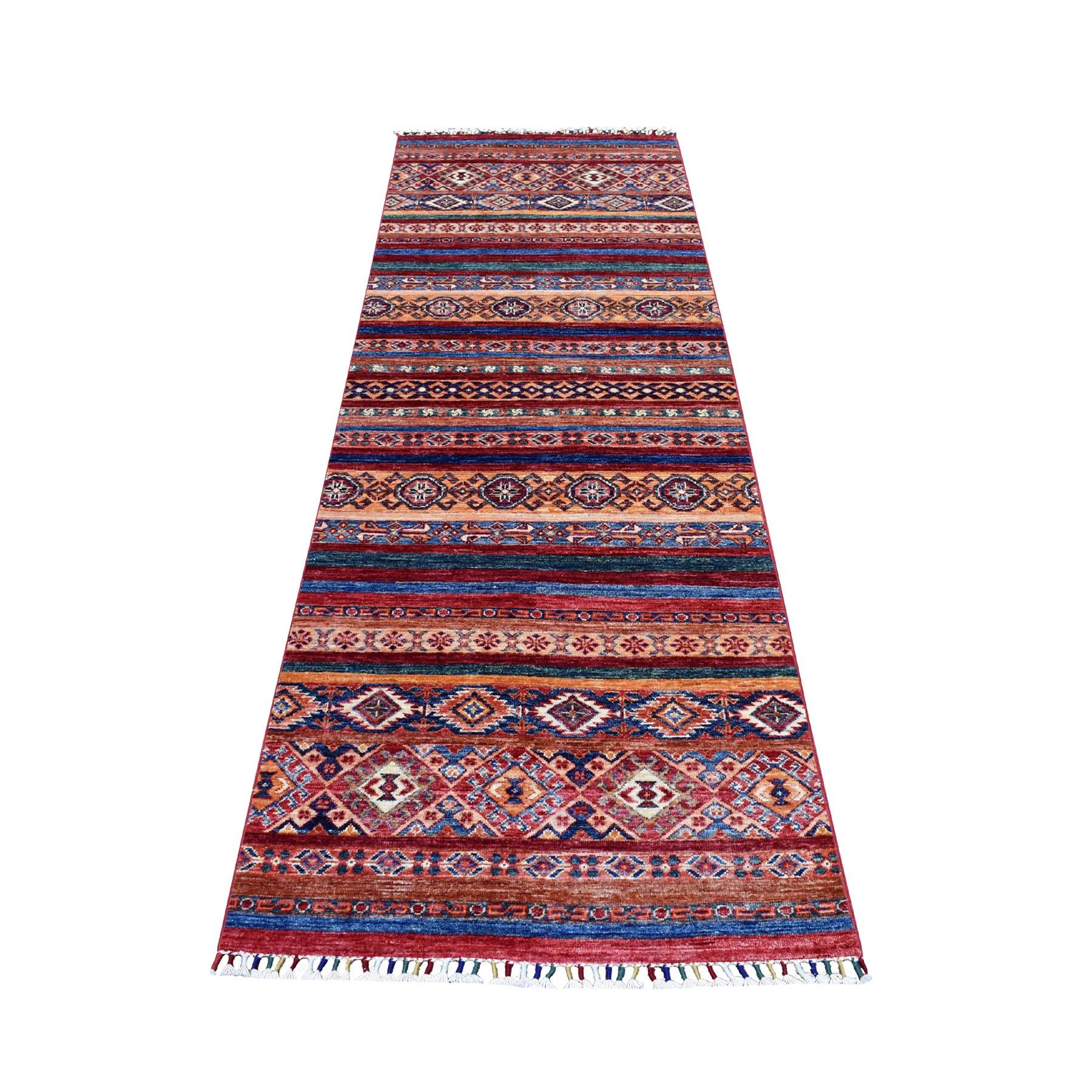 "2'10""X8'3"" Red Khorjin Design Runner Super Kazak Tribal Hand Knotted Pure Wool Oriental Rug moaeb9aa"