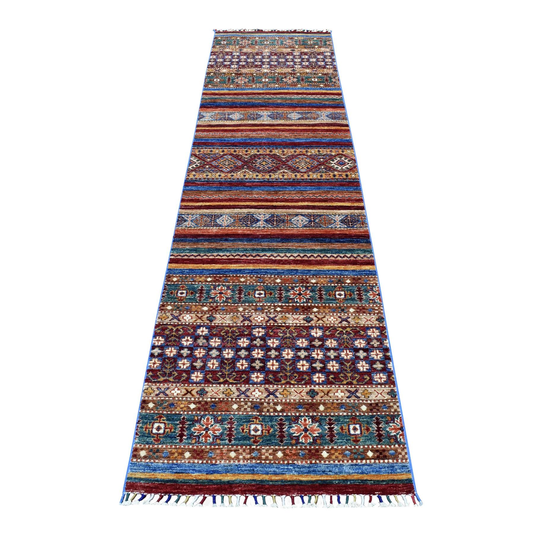 "2'4""X9'9"" Blue Khorjin Design Runner Super Kazak Tribal Pure Wool Hand Knotted Oriental Rug moaeb9ac"