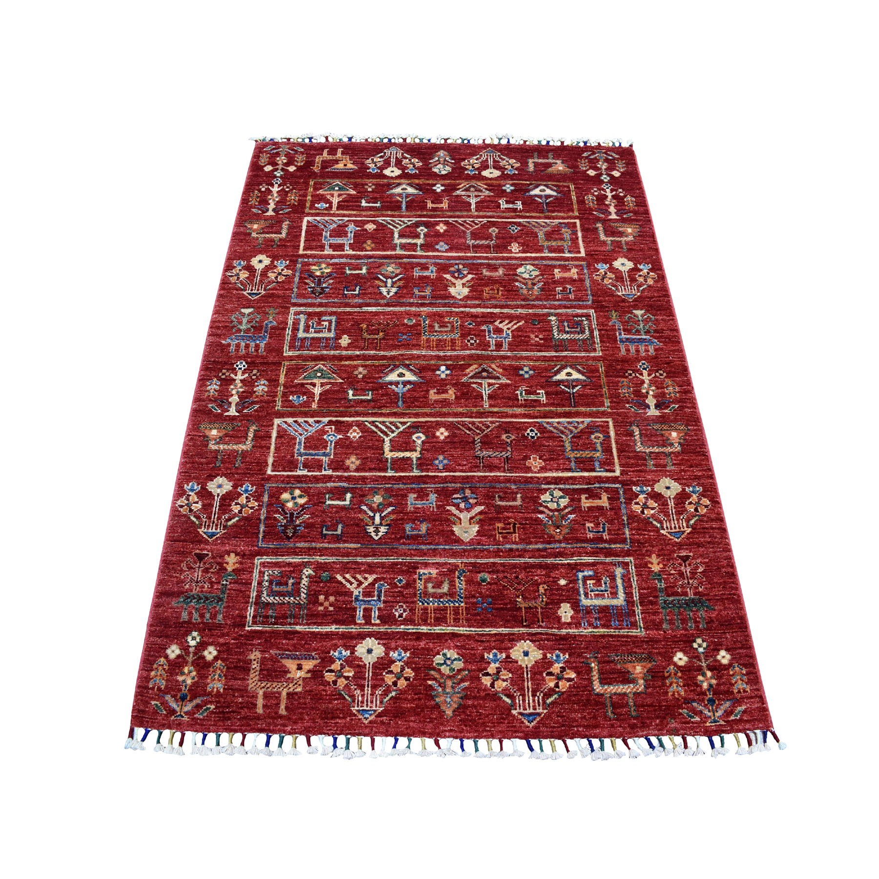 "3'5""X5'1"" Red Kashkuli Design Super Kazak Pictorial Pure Wool Hand Knotted Oriental Rug moaeb9ad"