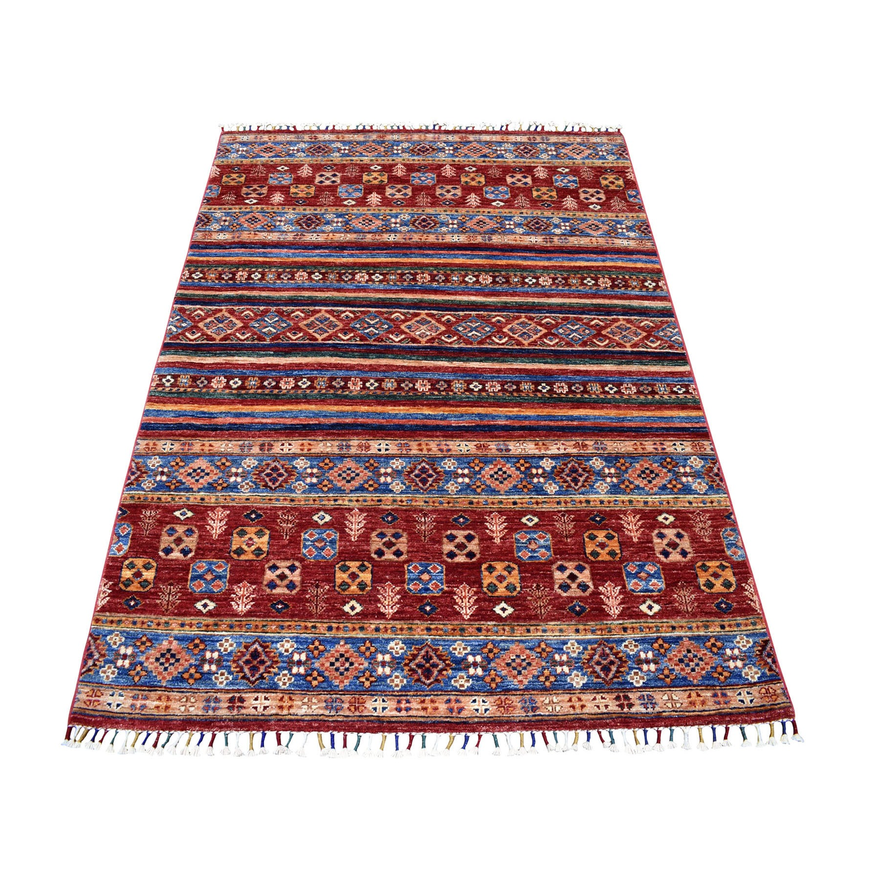 "4'3""X5'10"" Red Khorjin Design Super Kazak Geometric Pure Wool Hand Knotted Oriental Rug moaeb9ae"