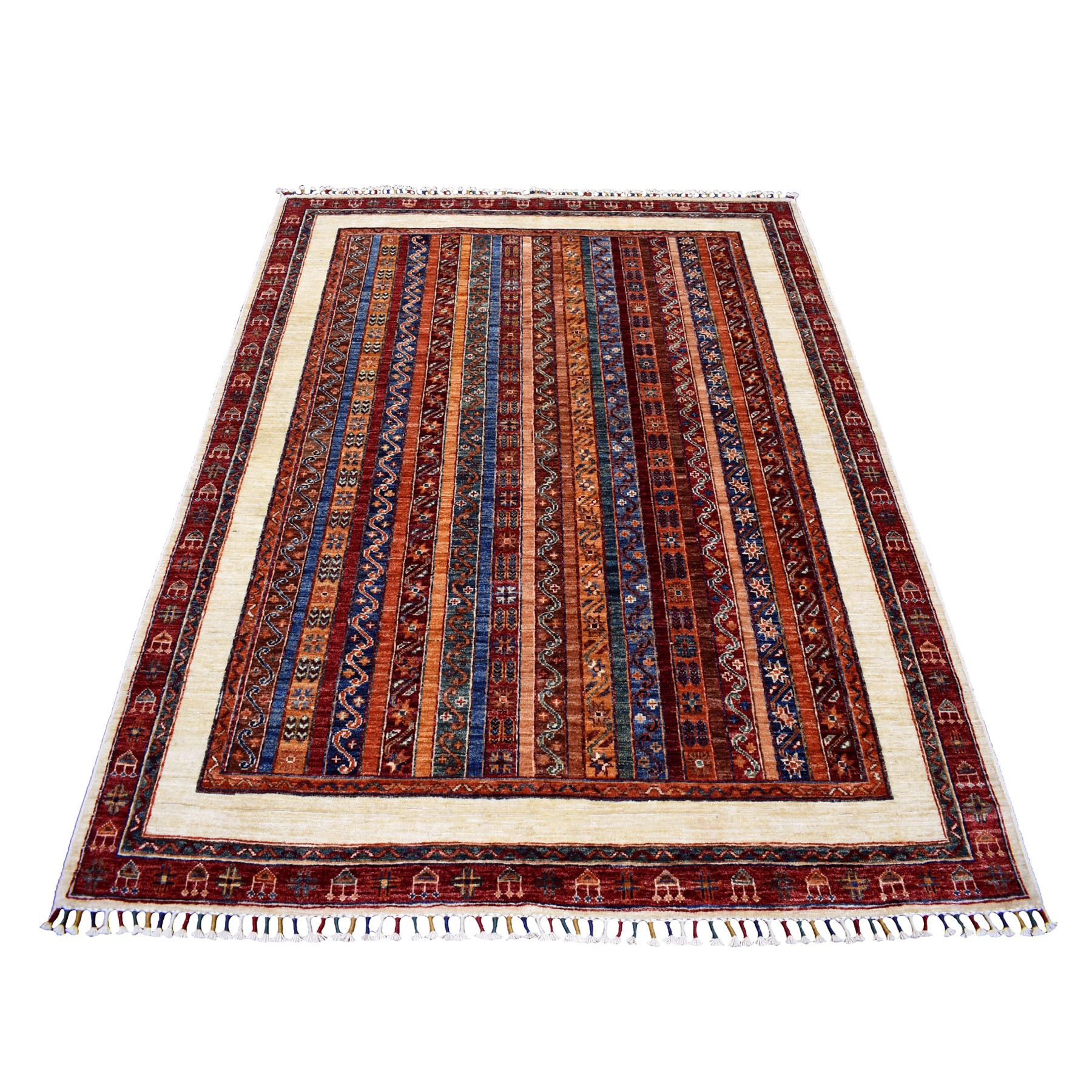 "5'1""X6'5"" Red Shawl Design Super Kazak Pure Wool Hand Knotted Oriental Rug moaeb9a6"