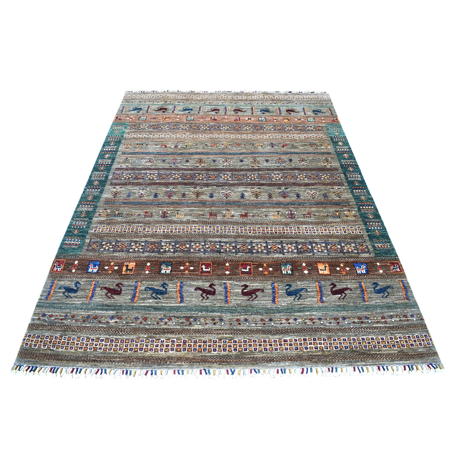 "5'9""X7'7"" Green Kashkuli Design Super Kazak Pictorial Pure Wool Hand Knotted Oriental Rug moaeb9a8"