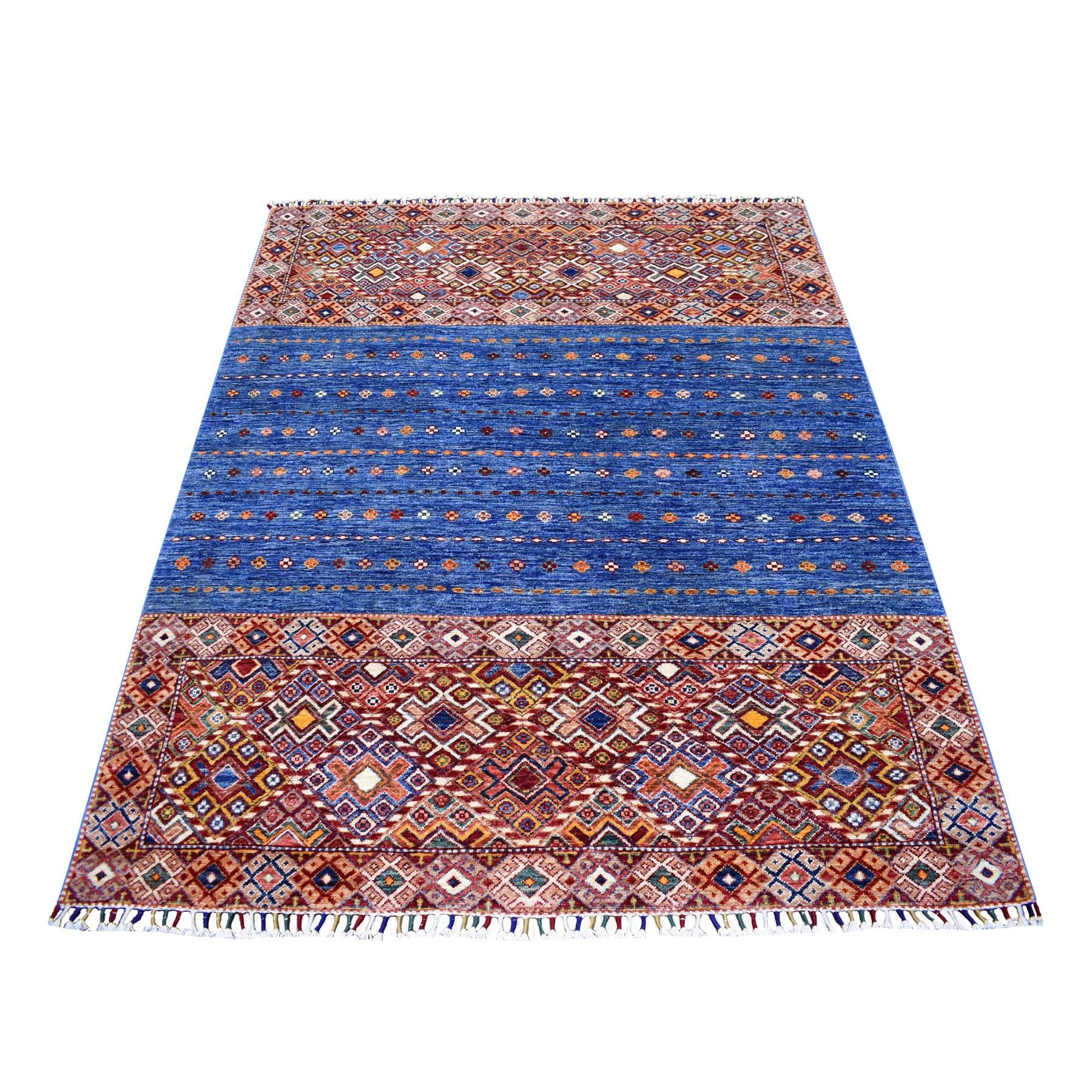 "5'2""X6'5"" Blue Khorjin Design Super Kazak Geometric Pure Wool Hand Knotted Oriental Rug moaeb9b0"