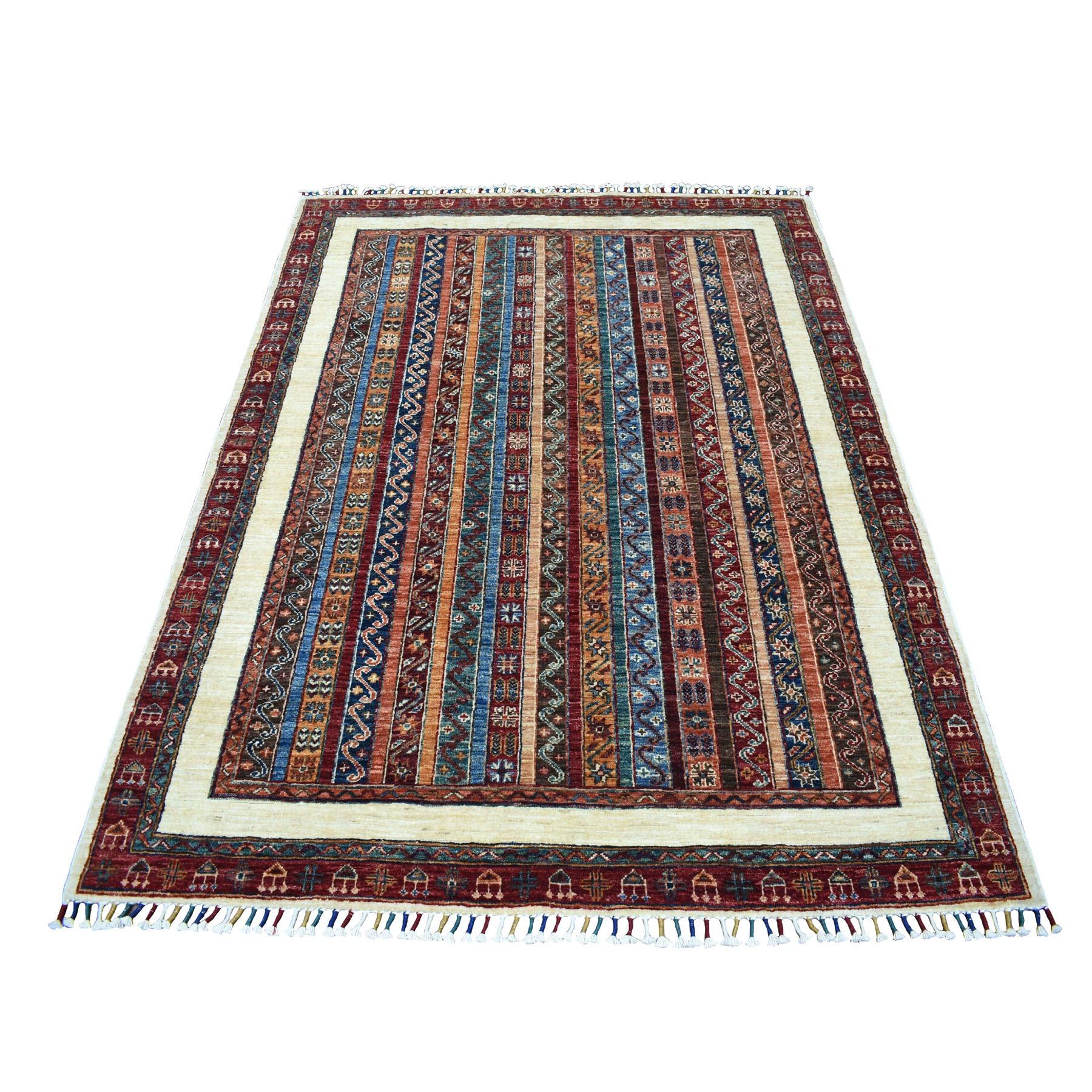"5'X6'6"" Red Shawl Design Super Kazak Pure Wool Hand Knotted Oriental Rug moaeb9ba"